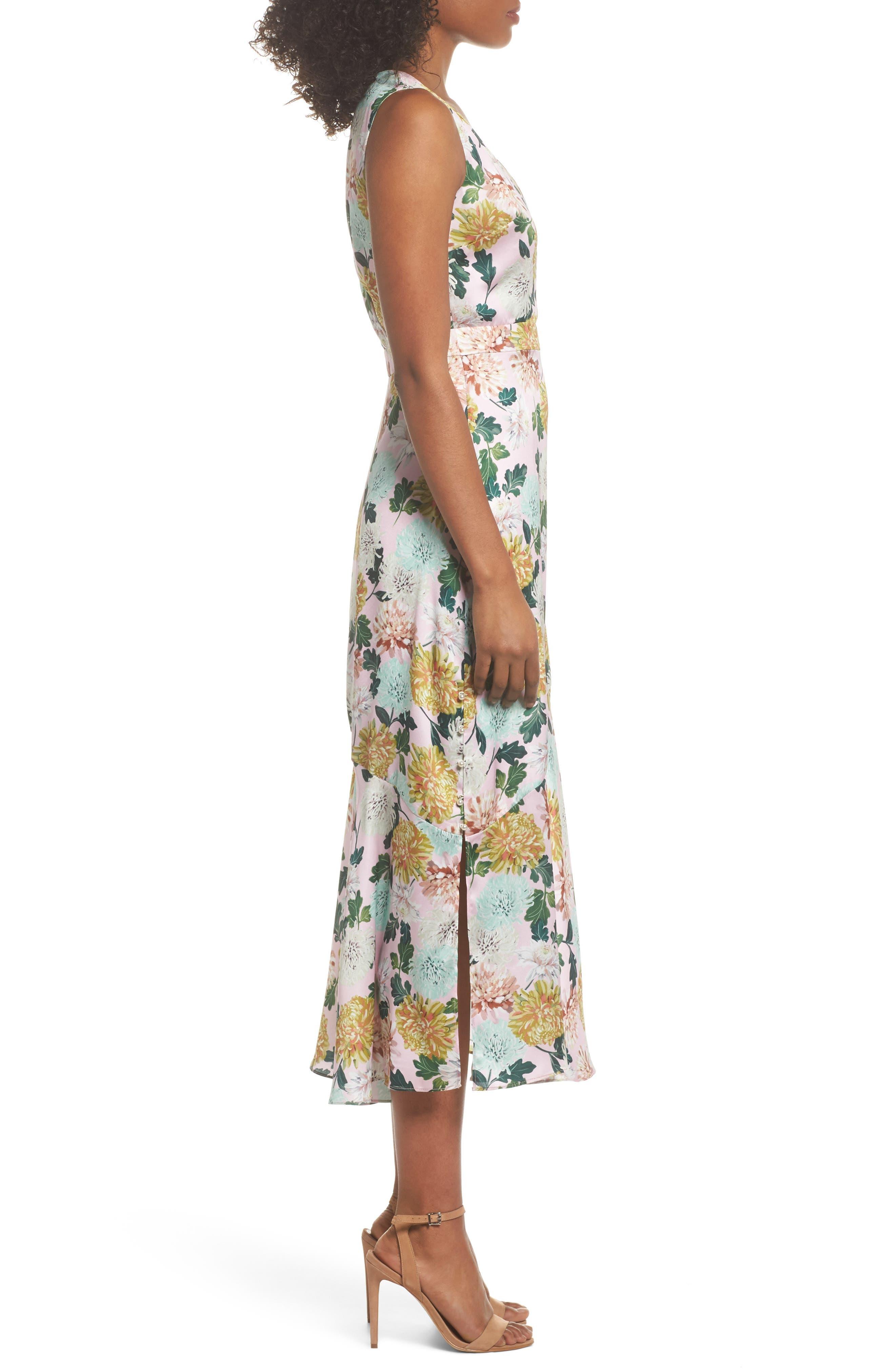 Vintage Floral Midi Dress,                             Alternate thumbnail 3, color,                             PINK MULTI