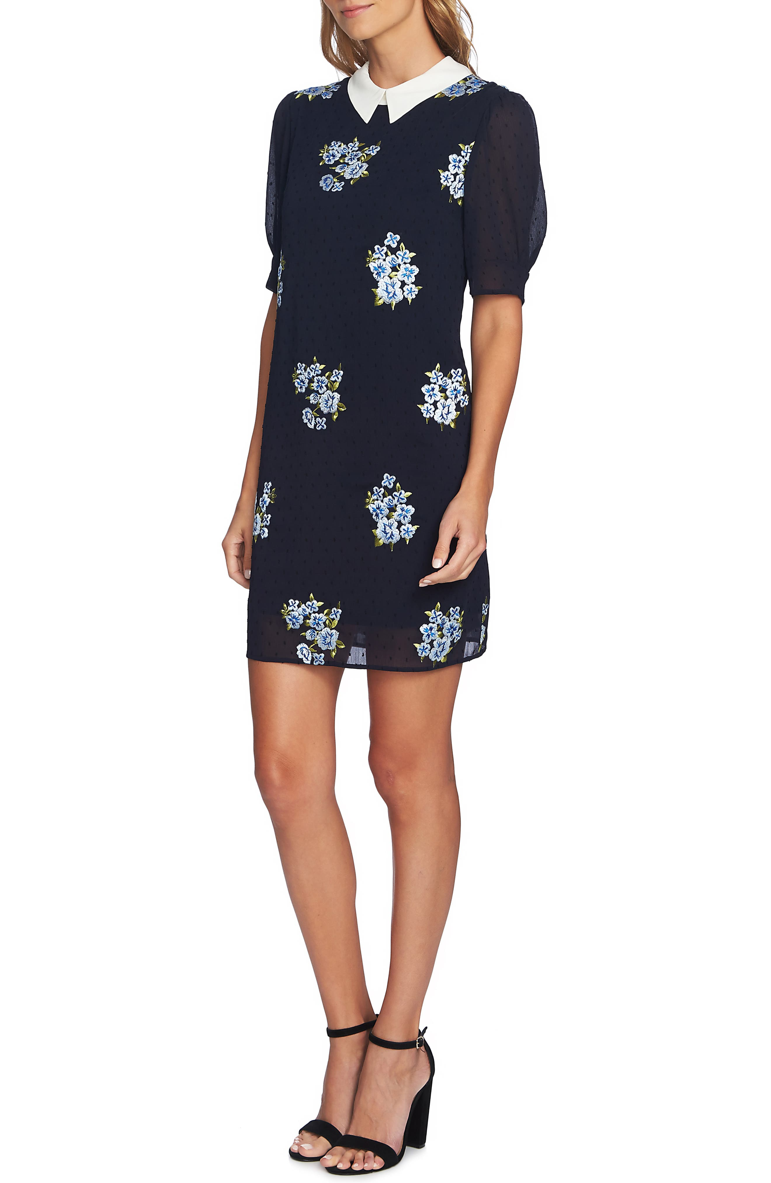 Cece Puff Sleeve Mixed Media Dress, Blue