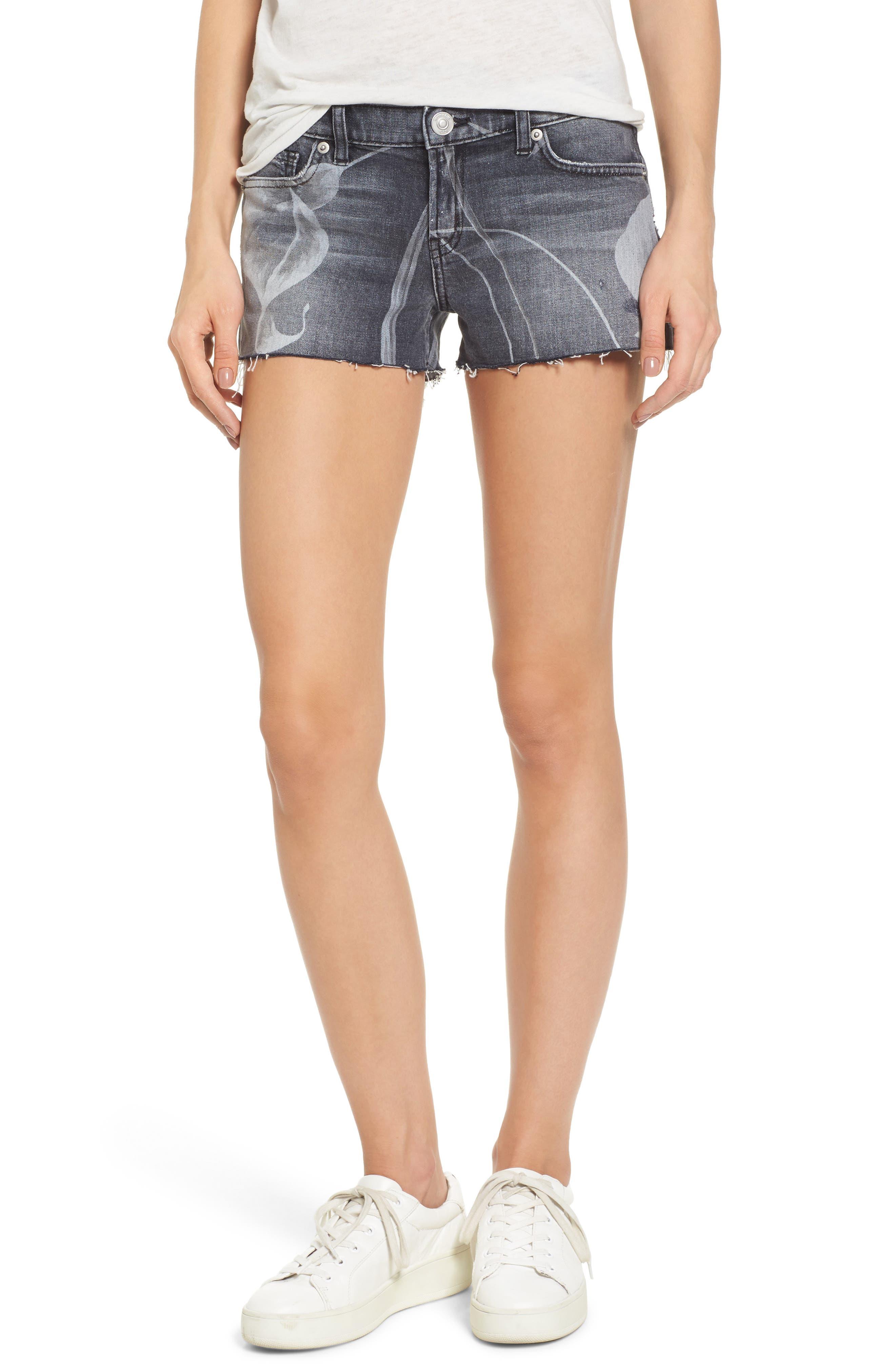Kenzie Cutoff Shorts,                         Main,                         color, NOIR IN BLOOM