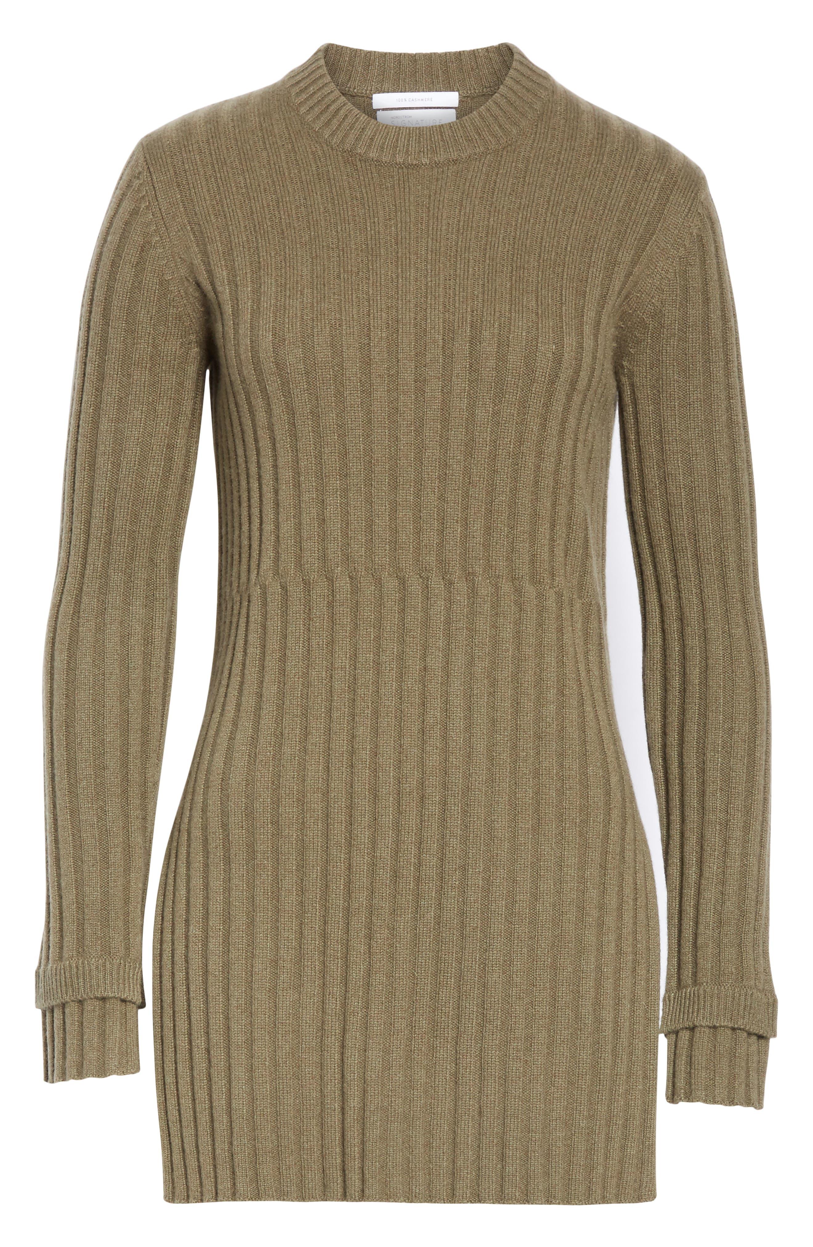 Rib Knit Cashmere Tunic,                             Alternate thumbnail 6, color,                             OLIVE IVY HEATHER