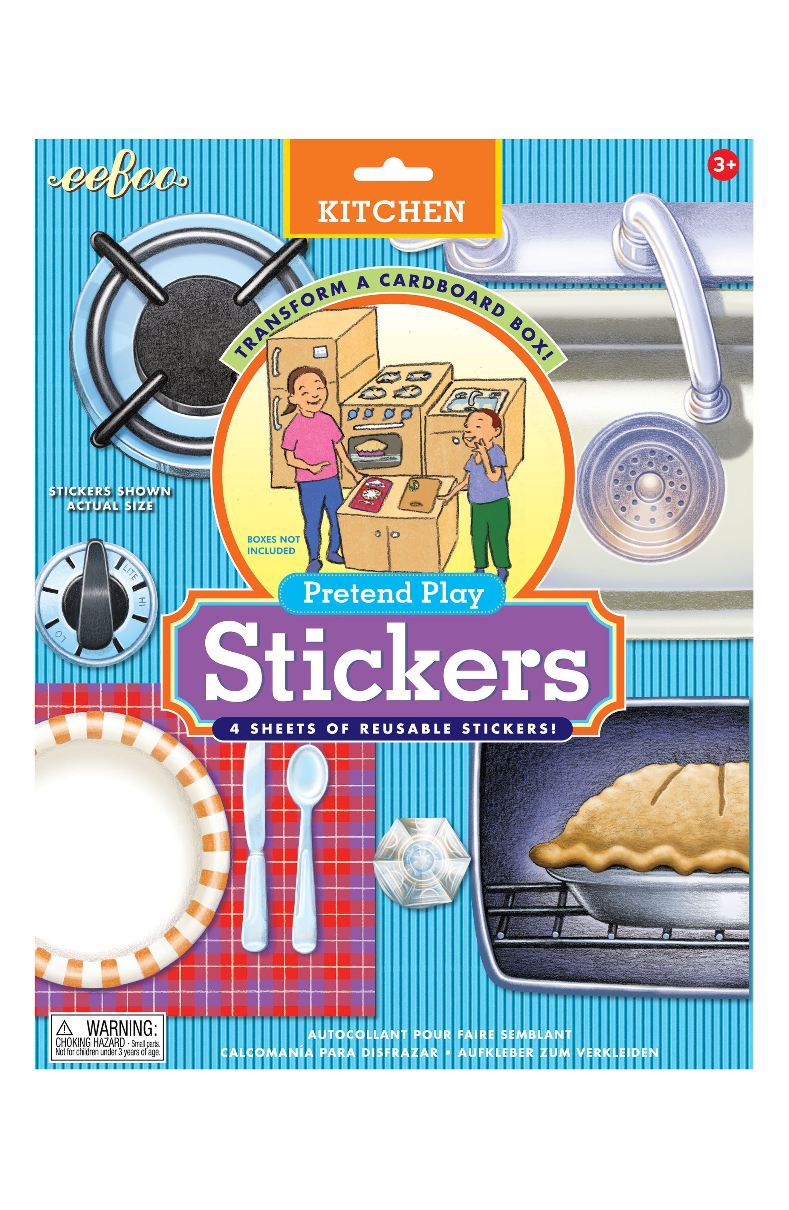 Cardboard Box Kitchen Sticker Set,                             Main thumbnail 1, color,                             MULTI