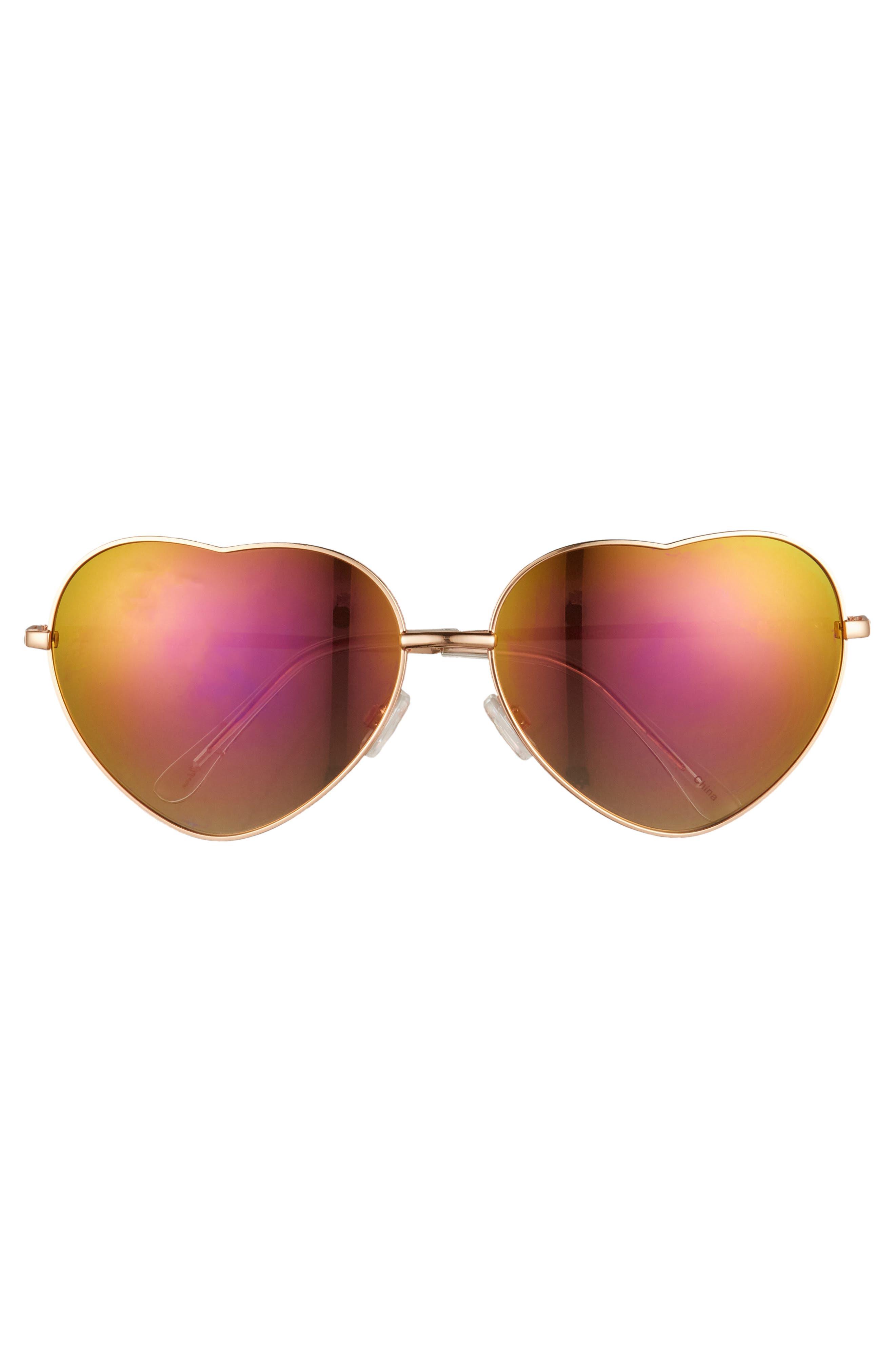 60mm Metal Heart Sunglasses,                             Alternate thumbnail 9, color,