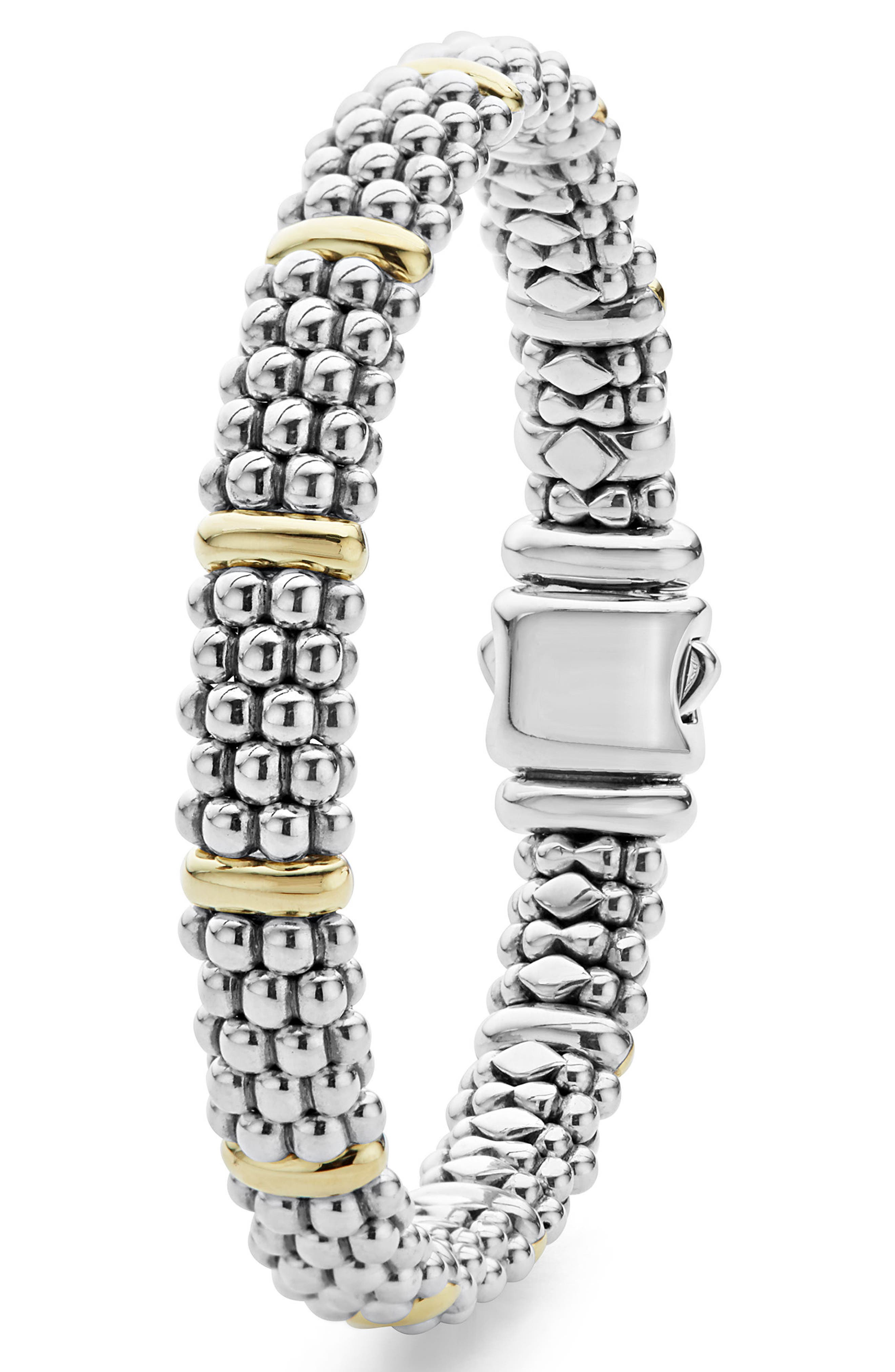 Oval Caviar Rope Bracelet,                             Alternate thumbnail 2, color,                             SILVER/ GOLD
