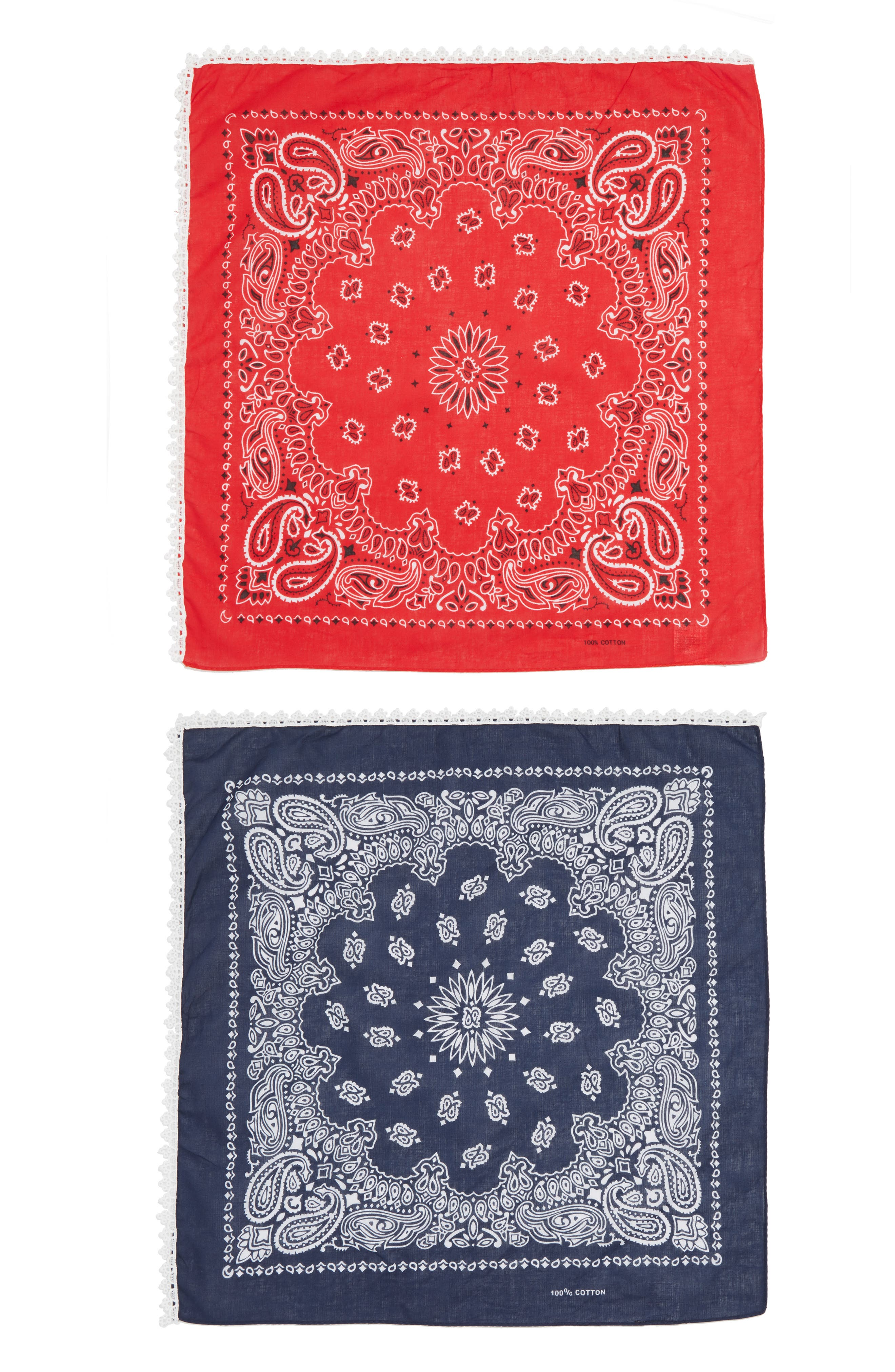 CAPELLI NEW YORK,                             Capelli of New York 2-Pack Lace Trim Bandanas,                             Alternate thumbnail 2, color,                             401