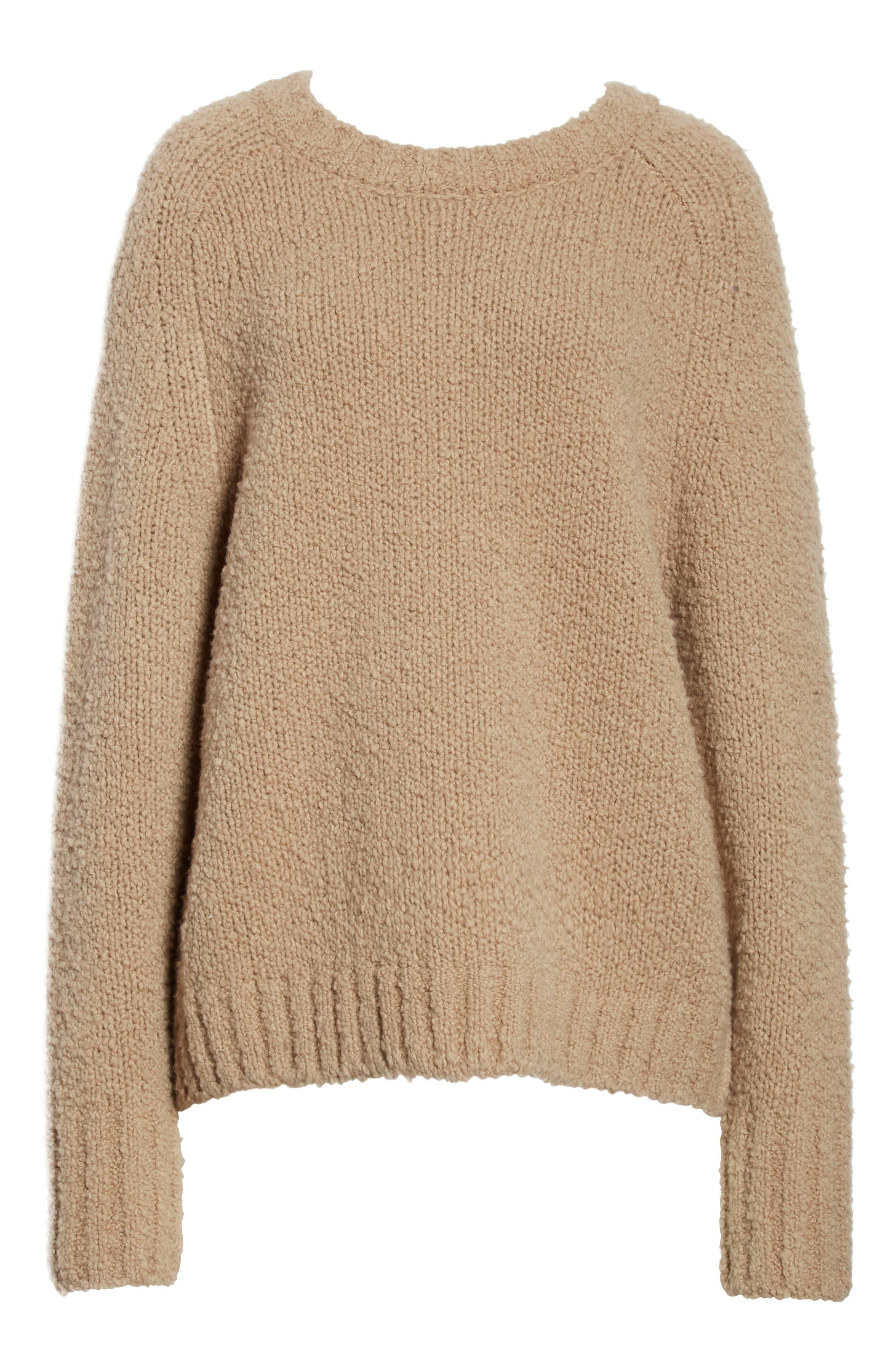 Saddle Sleeve Wool Sweater,                             Alternate thumbnail 6, color,