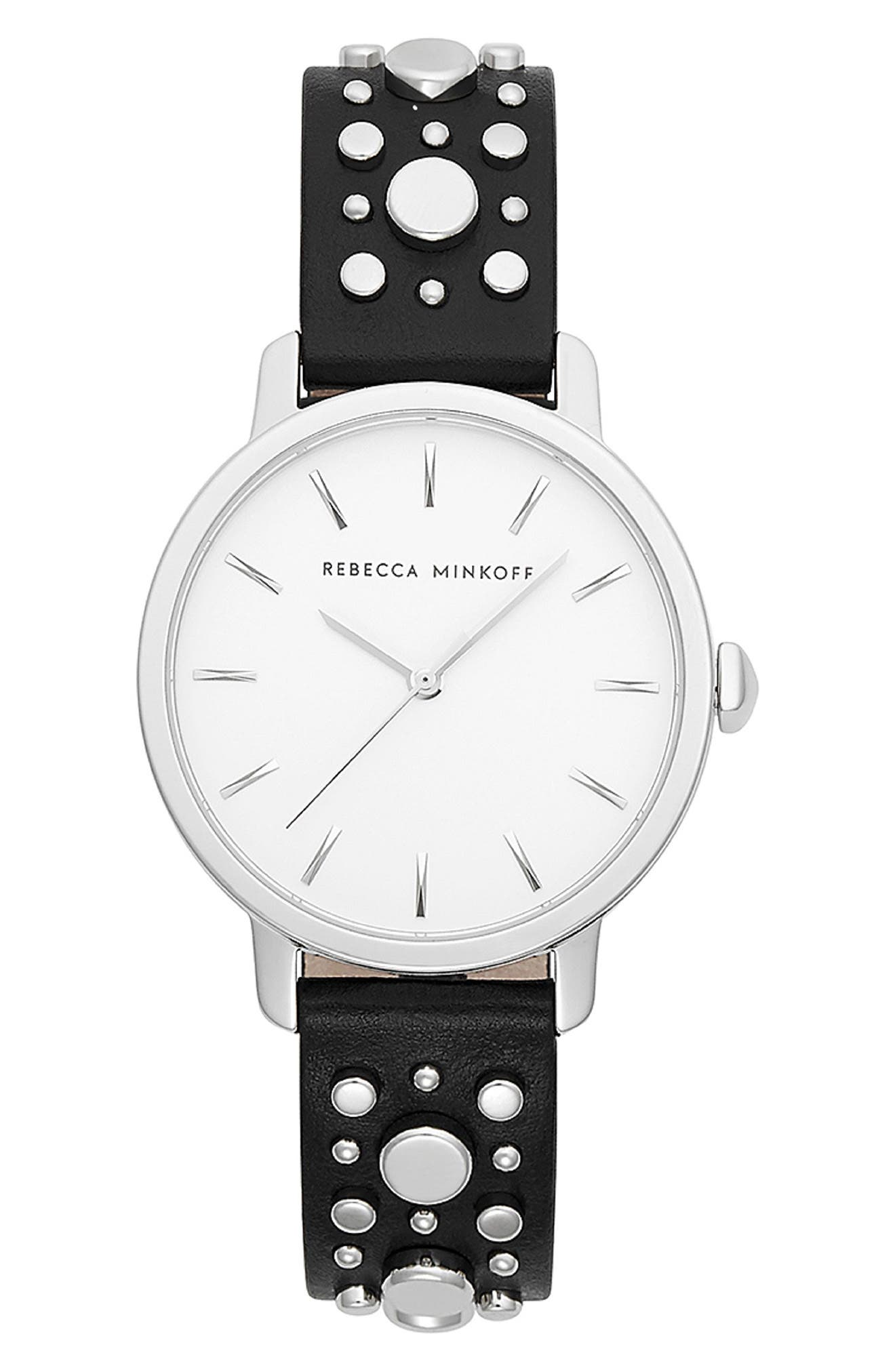 REBECCA MINKOFF,                             BFFL Studded Leather Strap Watch, 36mm,                             Main thumbnail 1, color,                             BLACK/ SILVER WHITE/ SILVER