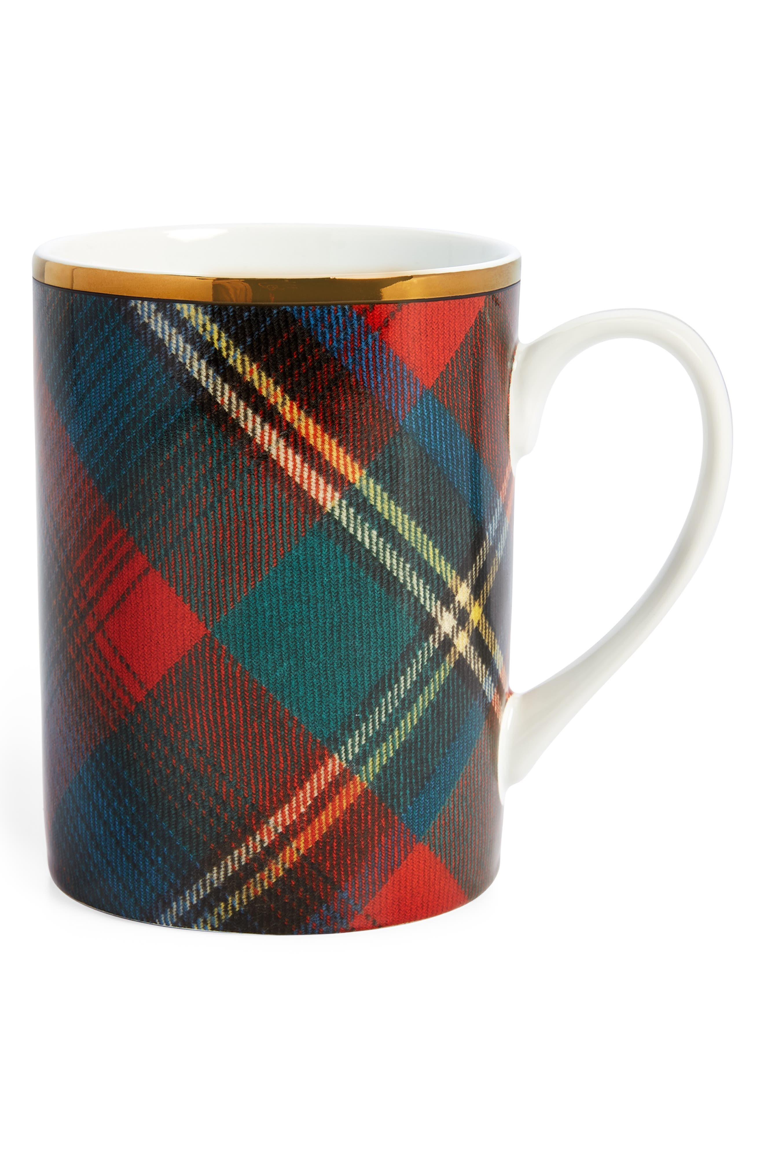 RALPH LAUREN,                             Alexander Set of 4 Mugs,                             Main thumbnail 1, color,                             RED/ GREEN PLAID