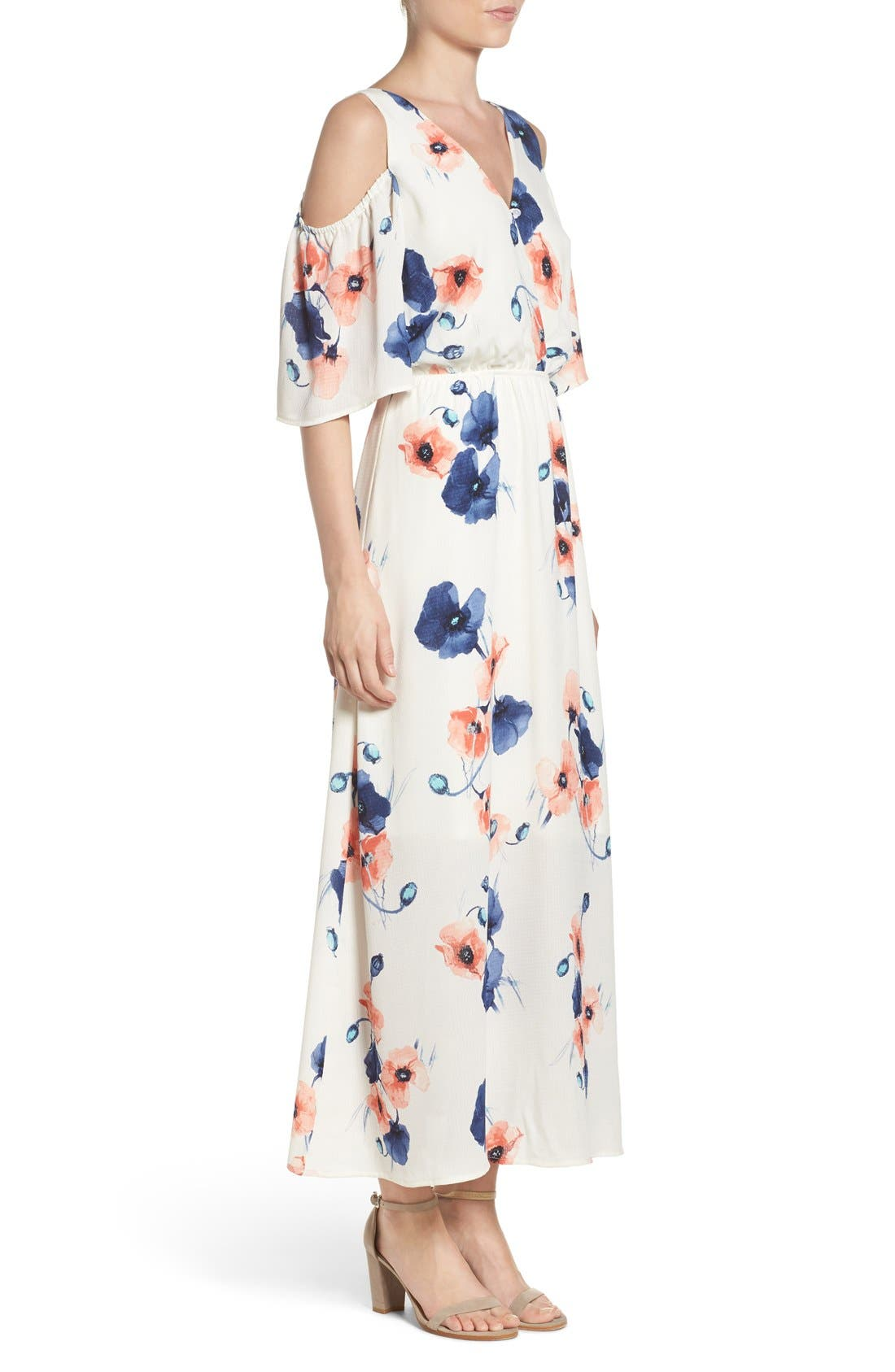 Cold Shoulder Maxi Dress,                             Alternate thumbnail 6, color,                             PENSY WHITE