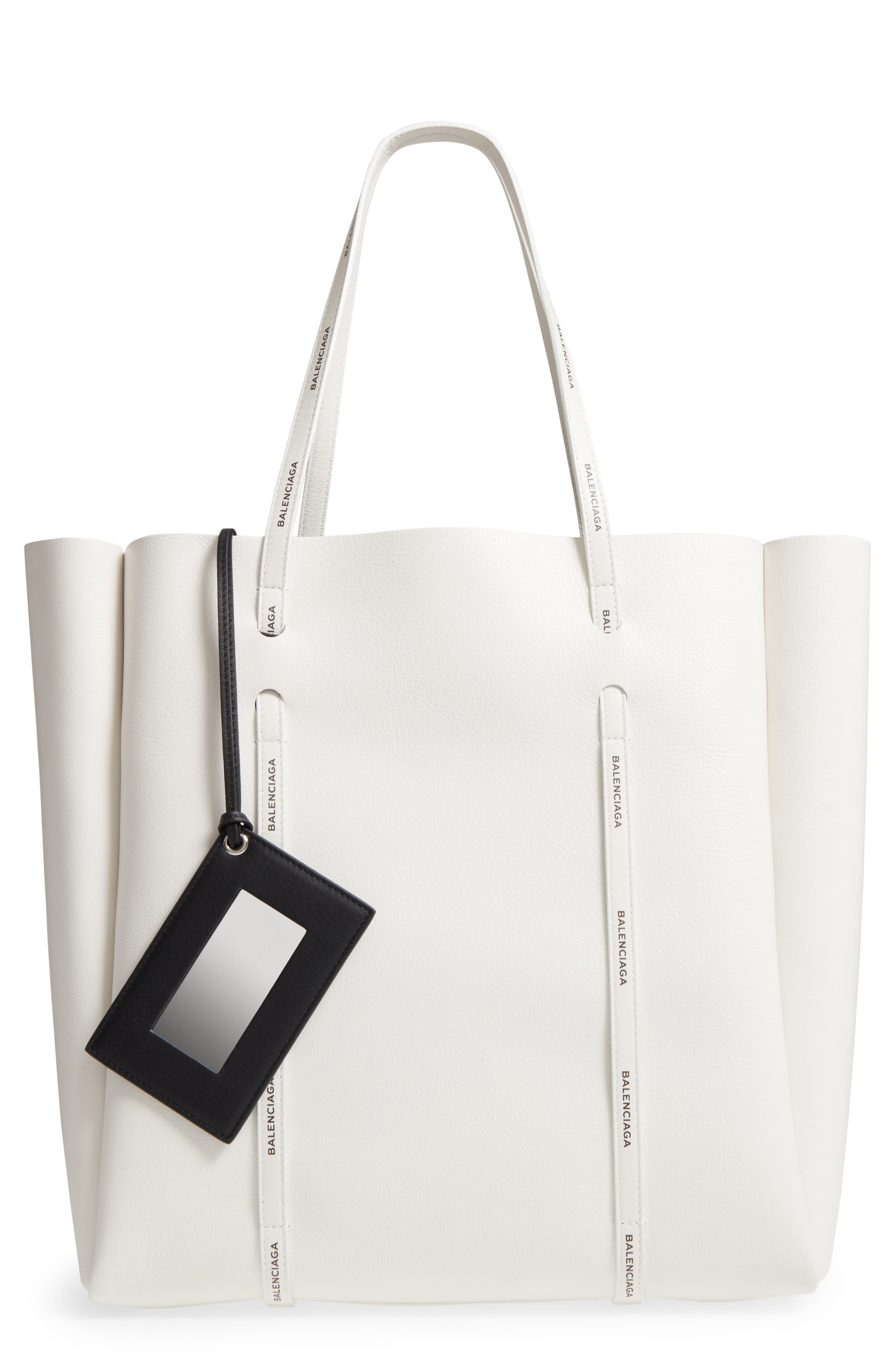 Medium Everyday Calfskin Tote,                         Main,                         color, BLANC/ BLACK