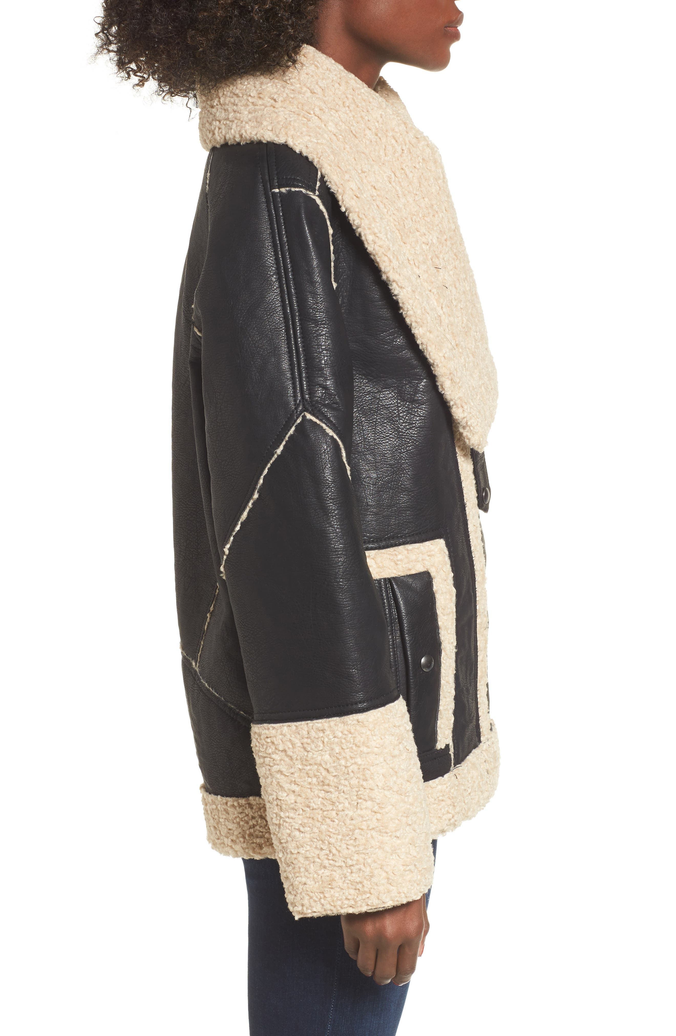 Faux Shearling & Faux Leather Jacket,                             Alternate thumbnail 3, color,