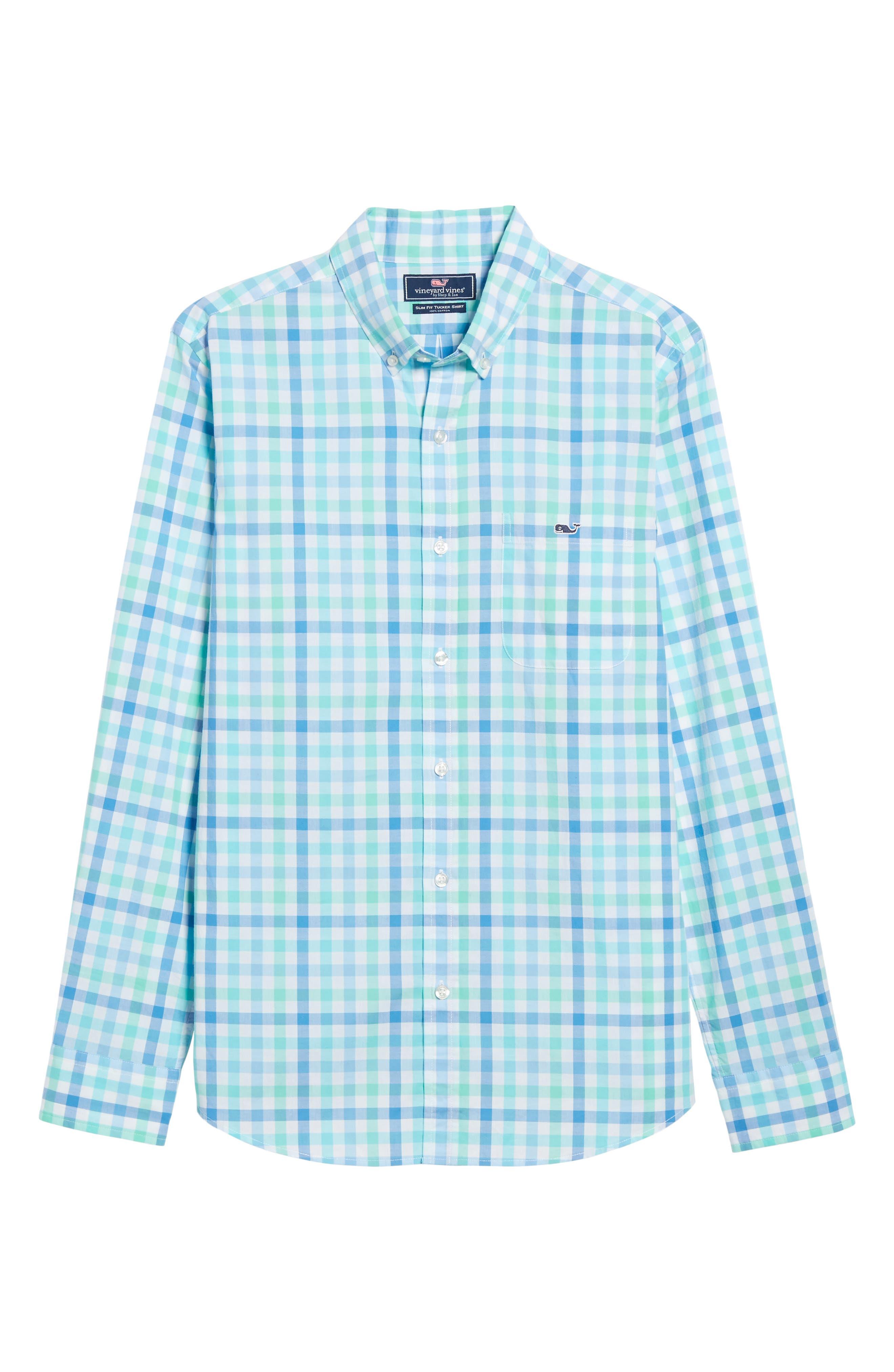 Eagles Nest Tucker Slim Fit Gingham Sport Shirt,                             Alternate thumbnail 6, color,