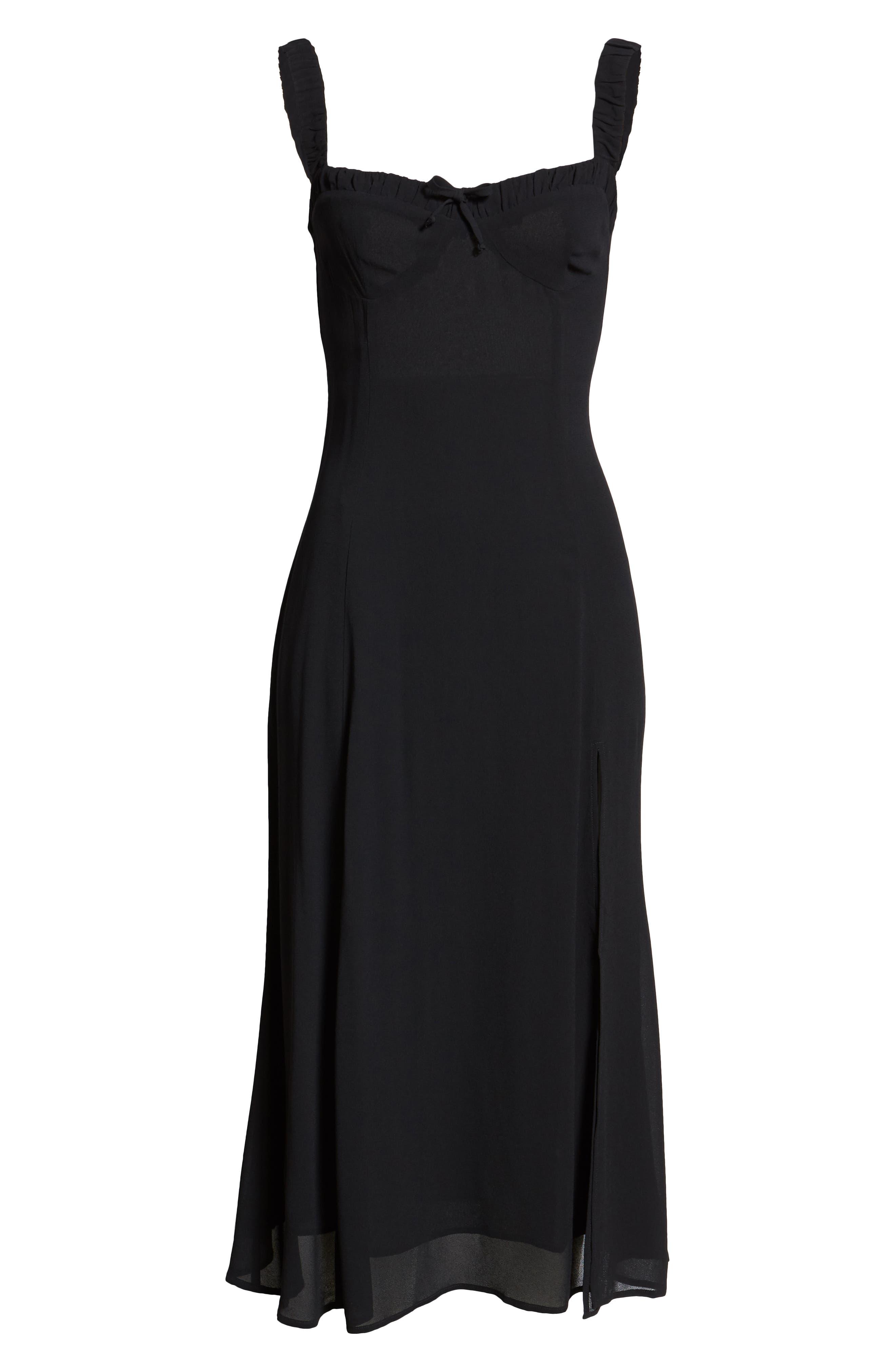 Peridot Side Slit Dress,                             Alternate thumbnail 7, color,                             BLACK