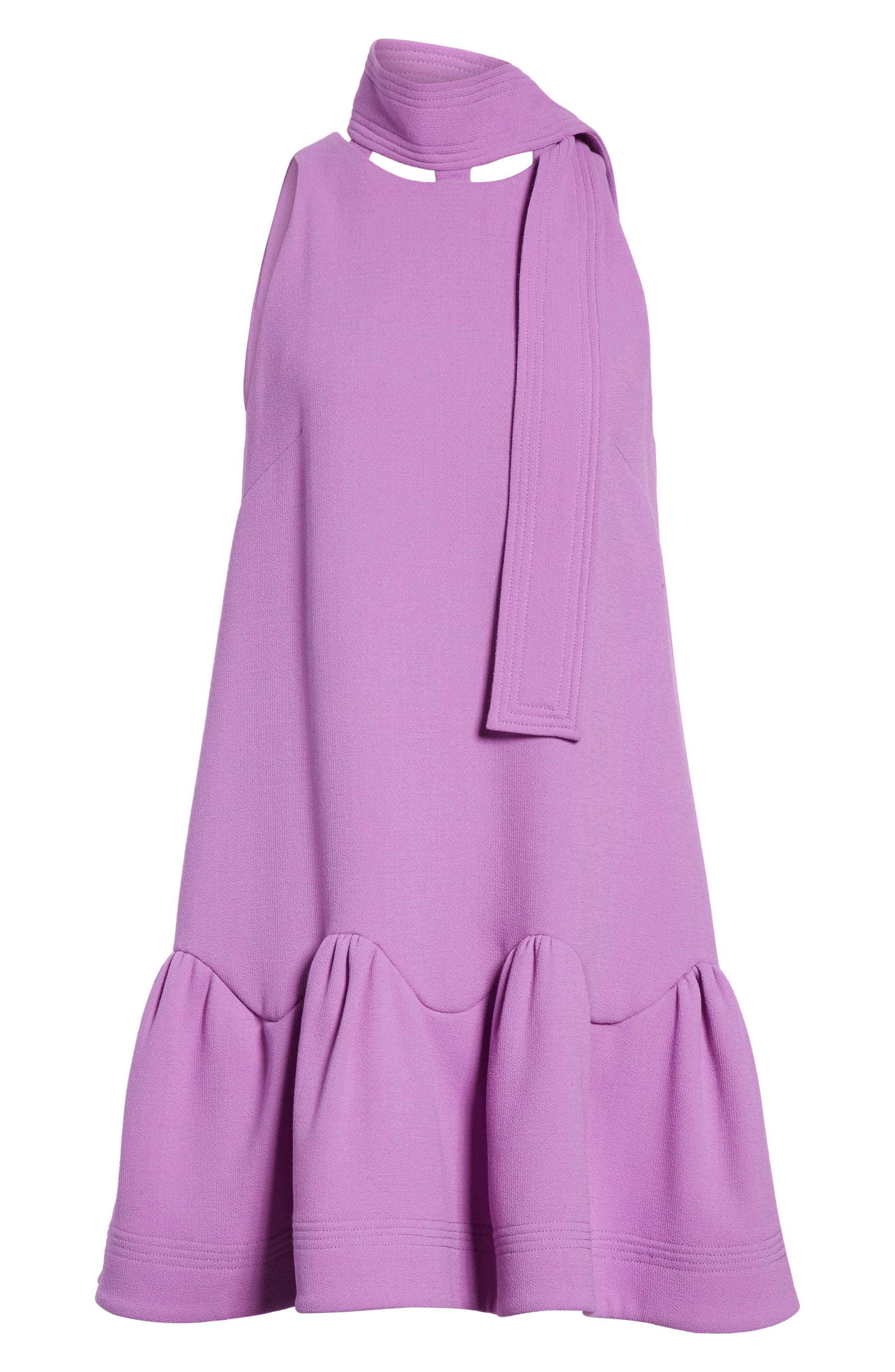 Scarf Neck Wool Blend Crepe Drop Waist Dress,                             Alternate thumbnail 9, color,                             LAVENDER