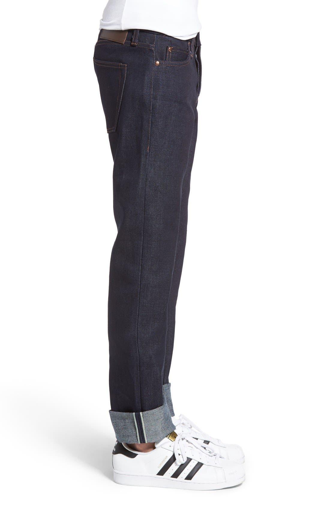 UB121 Selvedge Skinny Fit Jeans,                             Alternate thumbnail 3, color,                             401