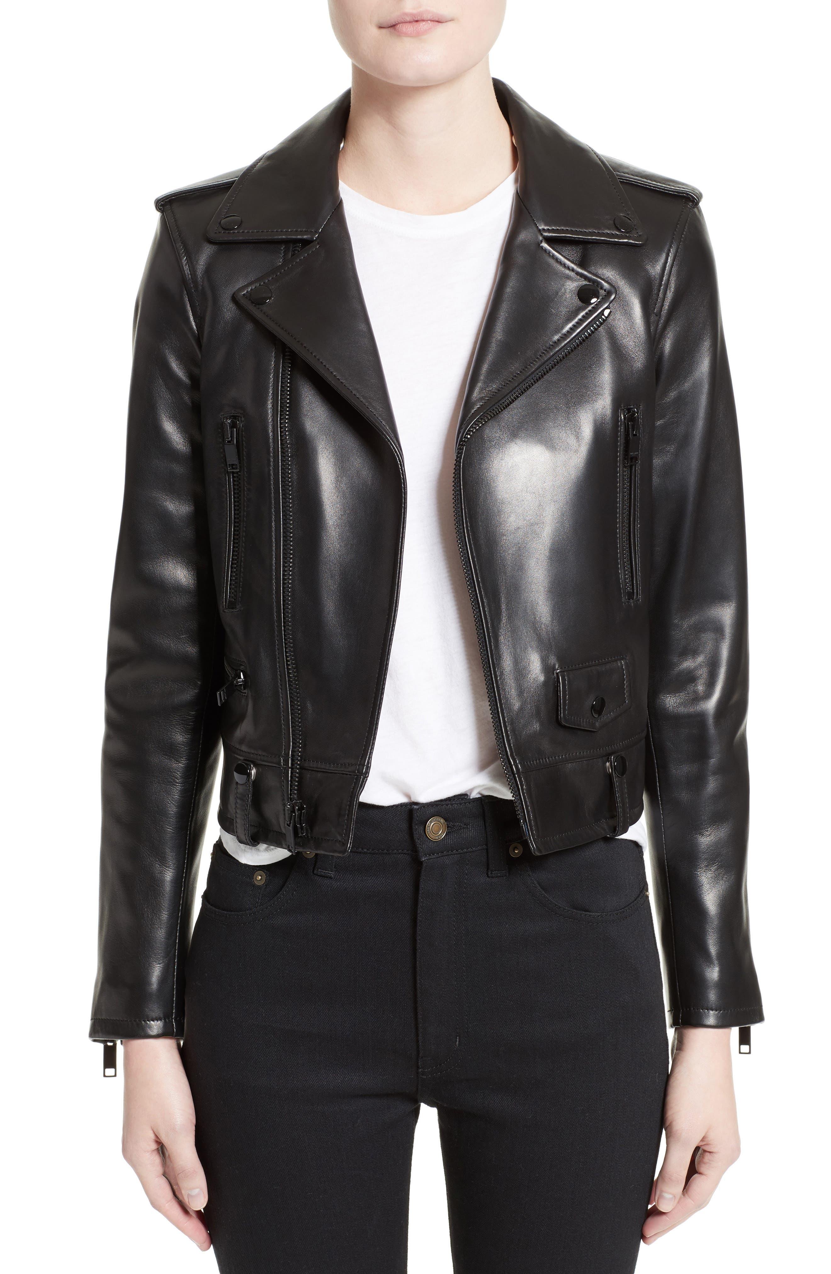 Leather Moto Jacket,                         Main,                         color, GRANITO