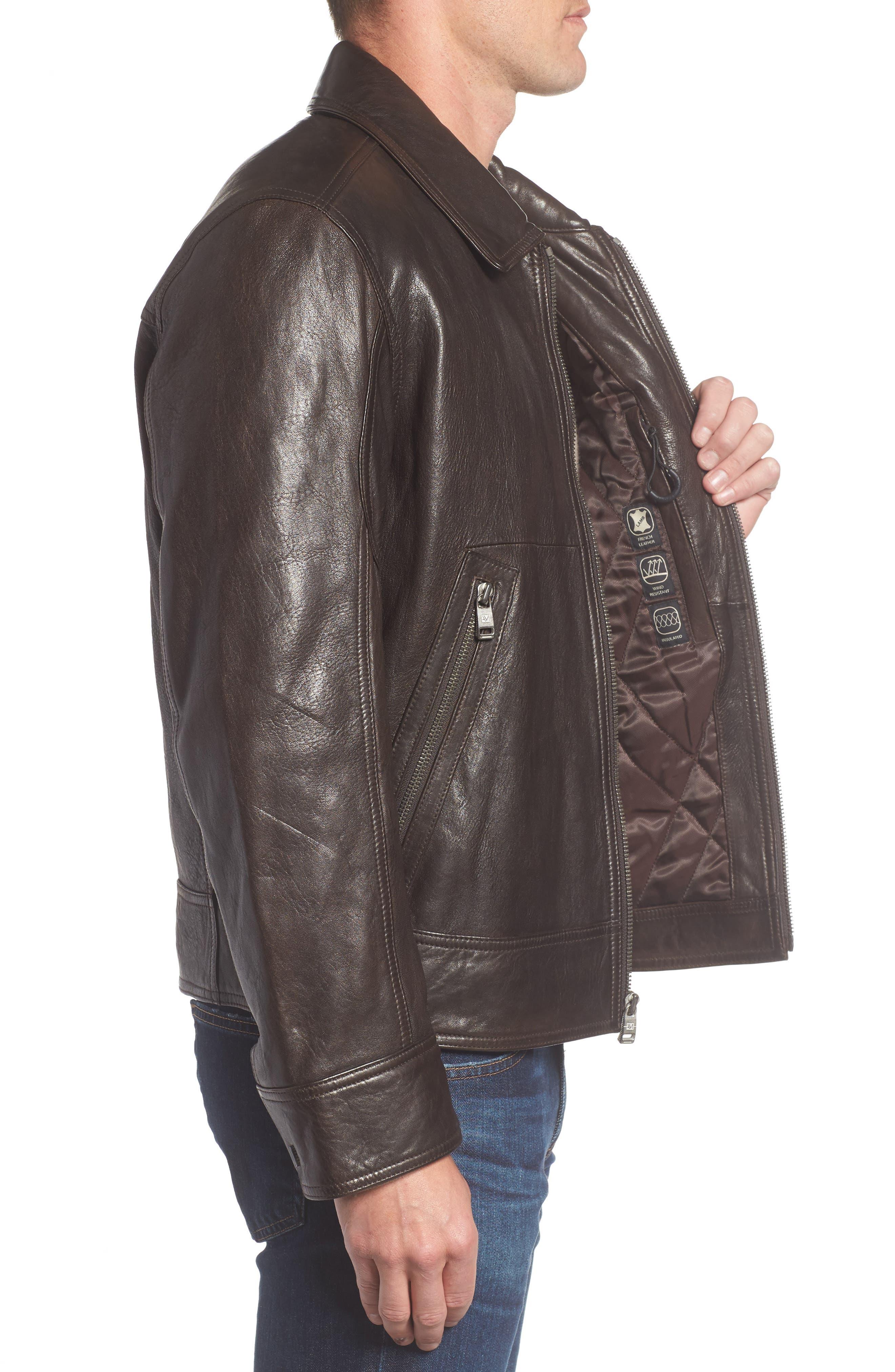 Morrison Spread Collar Leather Jacket,                             Alternate thumbnail 3, color,                             200