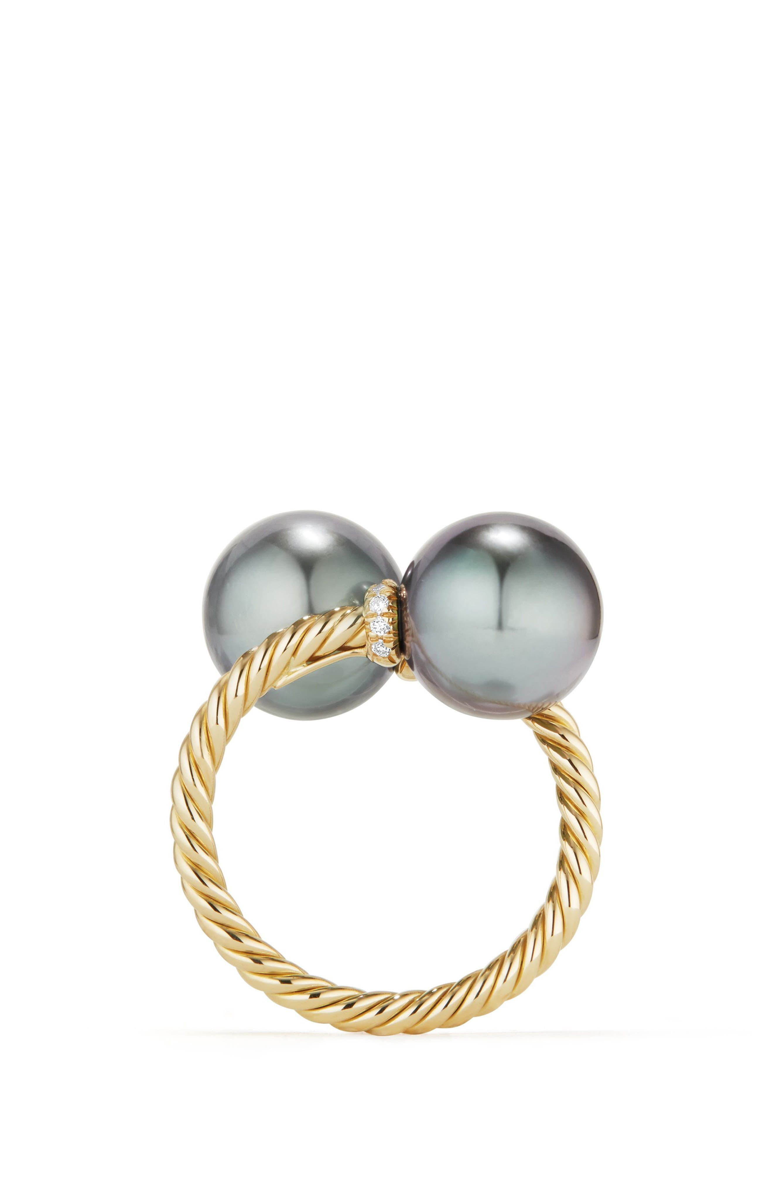 Solari Bypass Ring with Diamond in 18K Gold,                             Alternate thumbnail 4, color,                             GOLD/ DIAMOND/ GREY PEARL