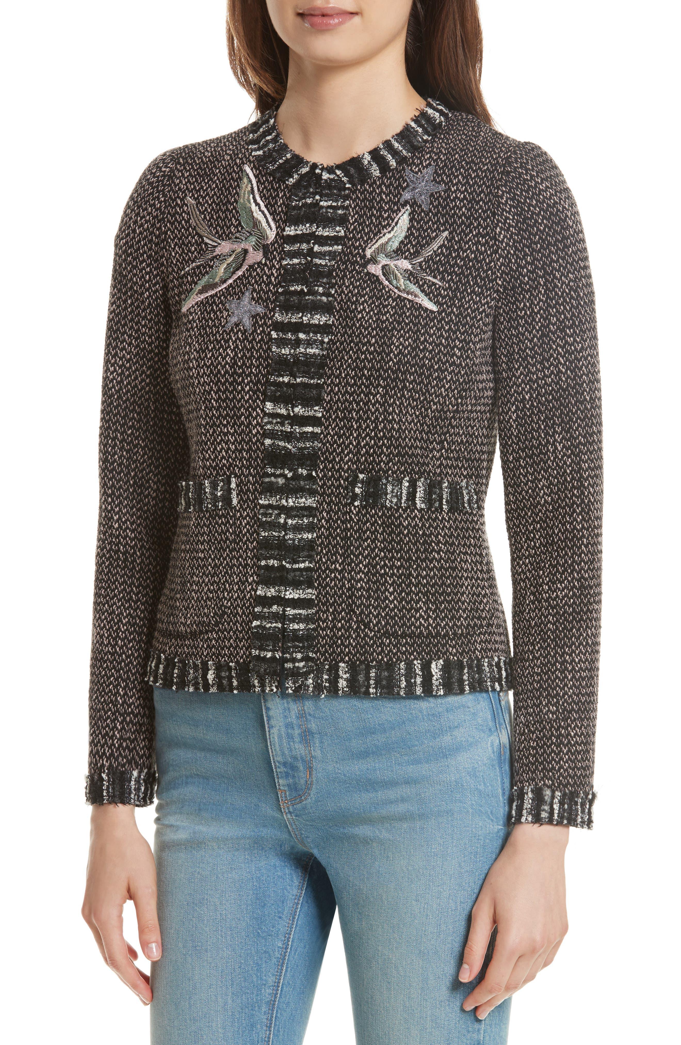 Embellished Multi Tweed Jacket,                             Alternate thumbnail 4, color,                             014