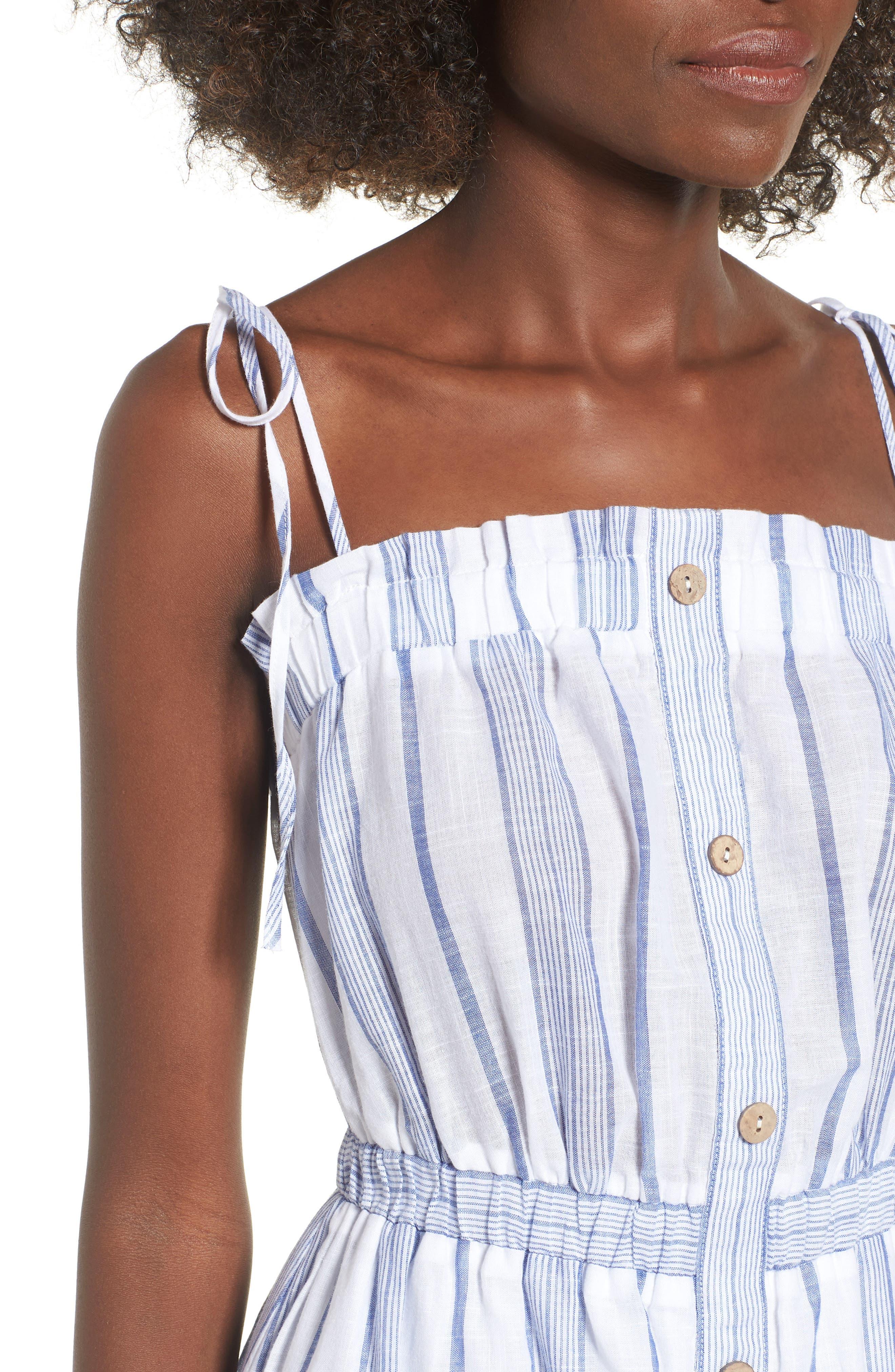 Stripe Tie Strap Dress,                             Alternate thumbnail 4, color,                             SKY STRIPE