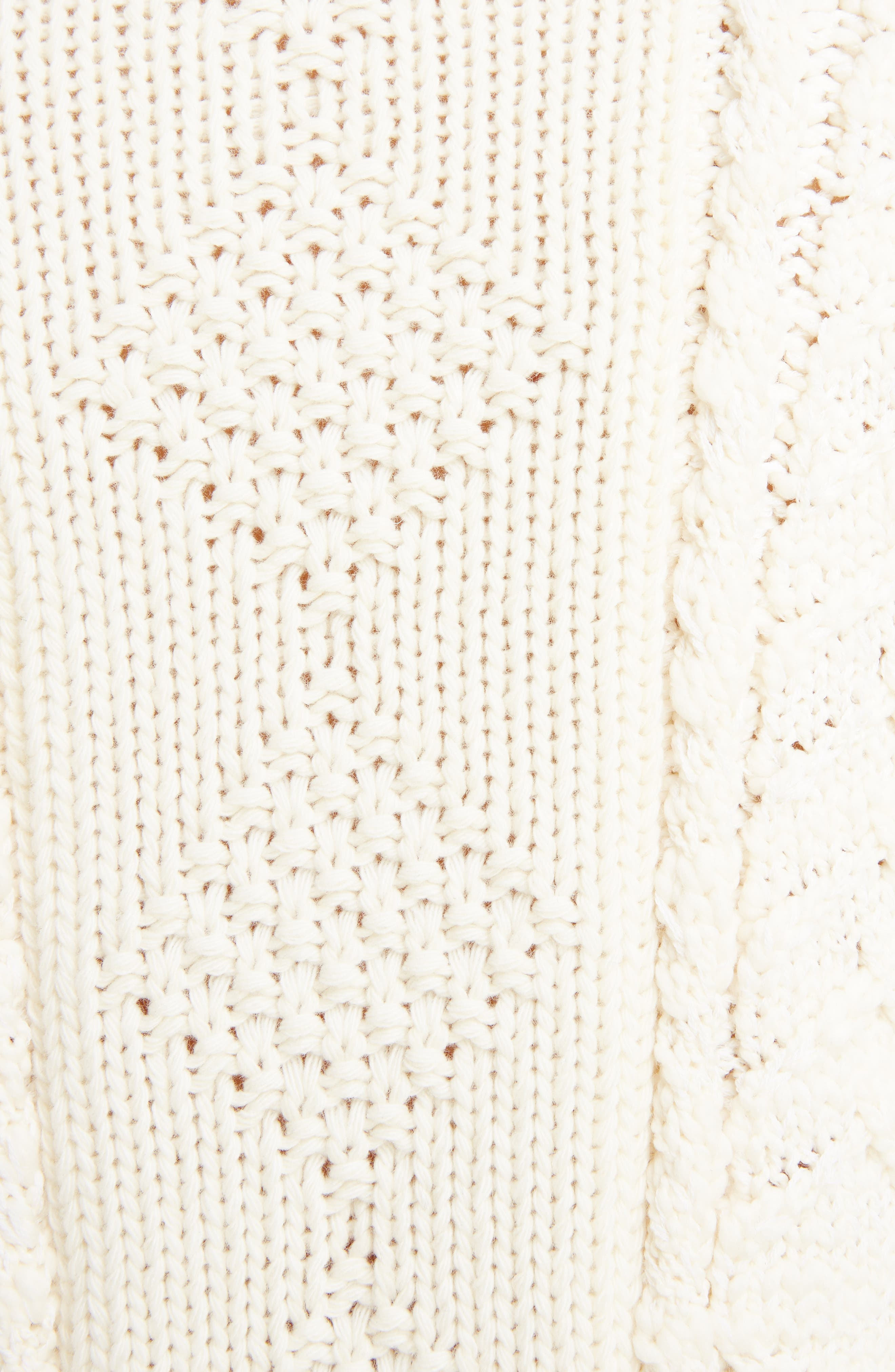 Cable Knit Wool & Cashmere Sweater,                             Alternate thumbnail 5, color,                             WHITE/ ECRU