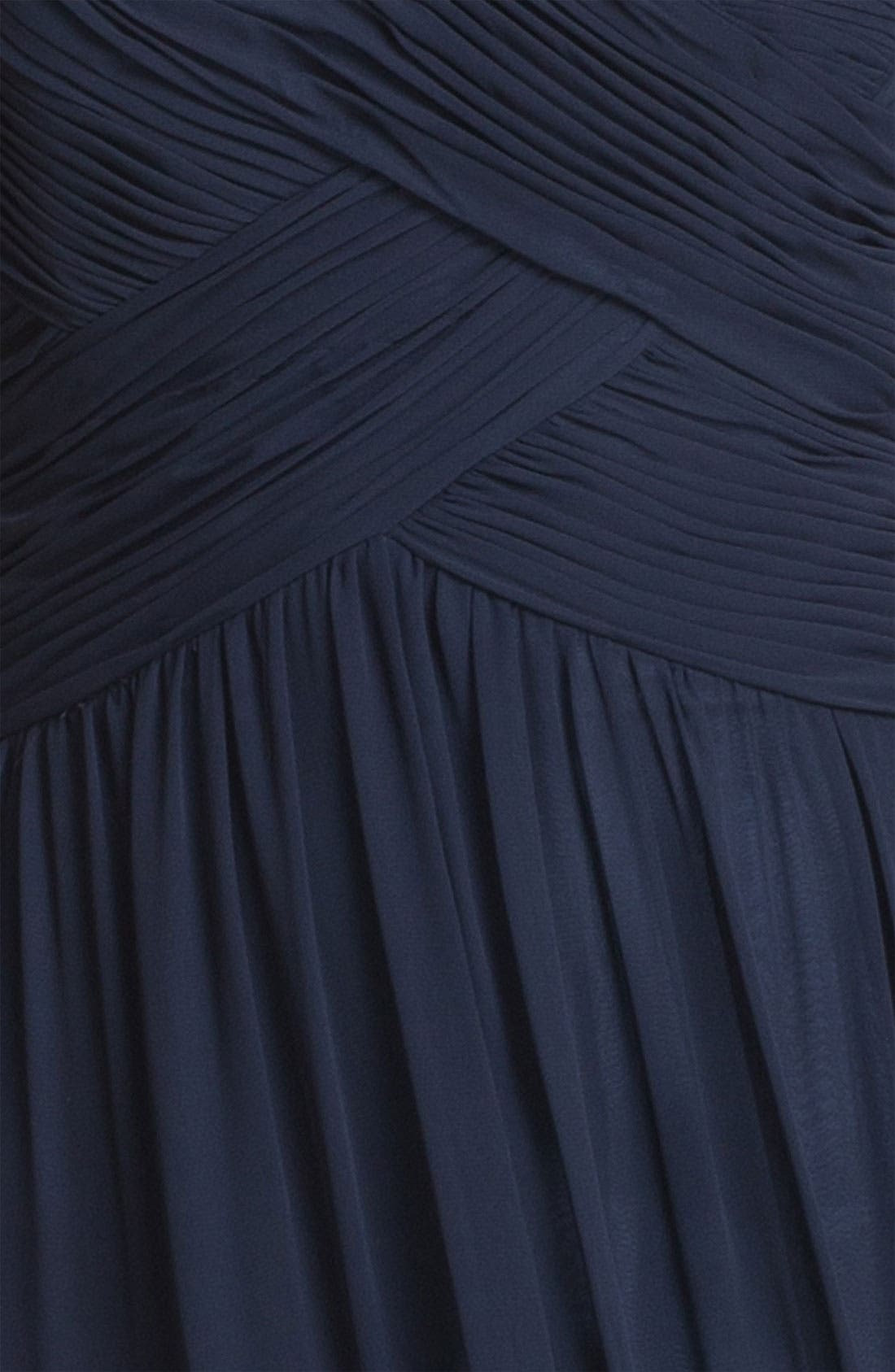Strapless Ruched Chiffon Gown,                             Alternate thumbnail 22, color,
