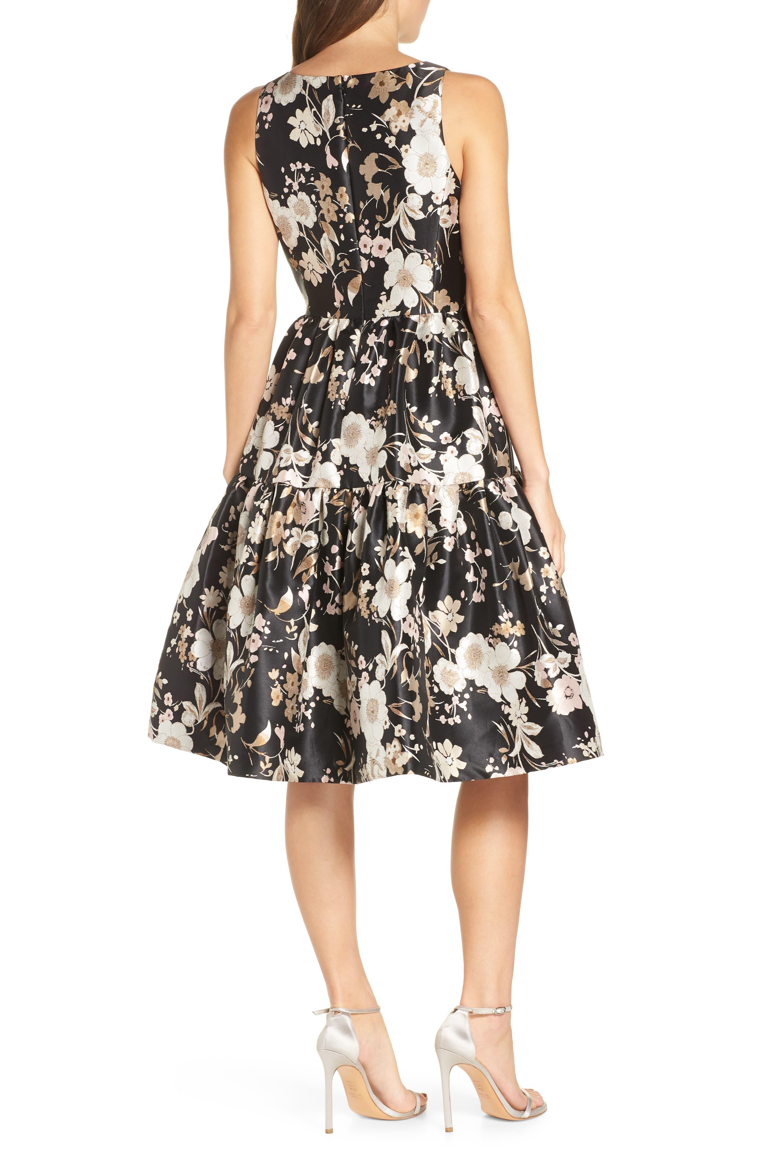ELIZA J,                             Floral Jacquard Fit & Flare Dress,                             Alternate thumbnail 2, color,                             BLACK WHITE