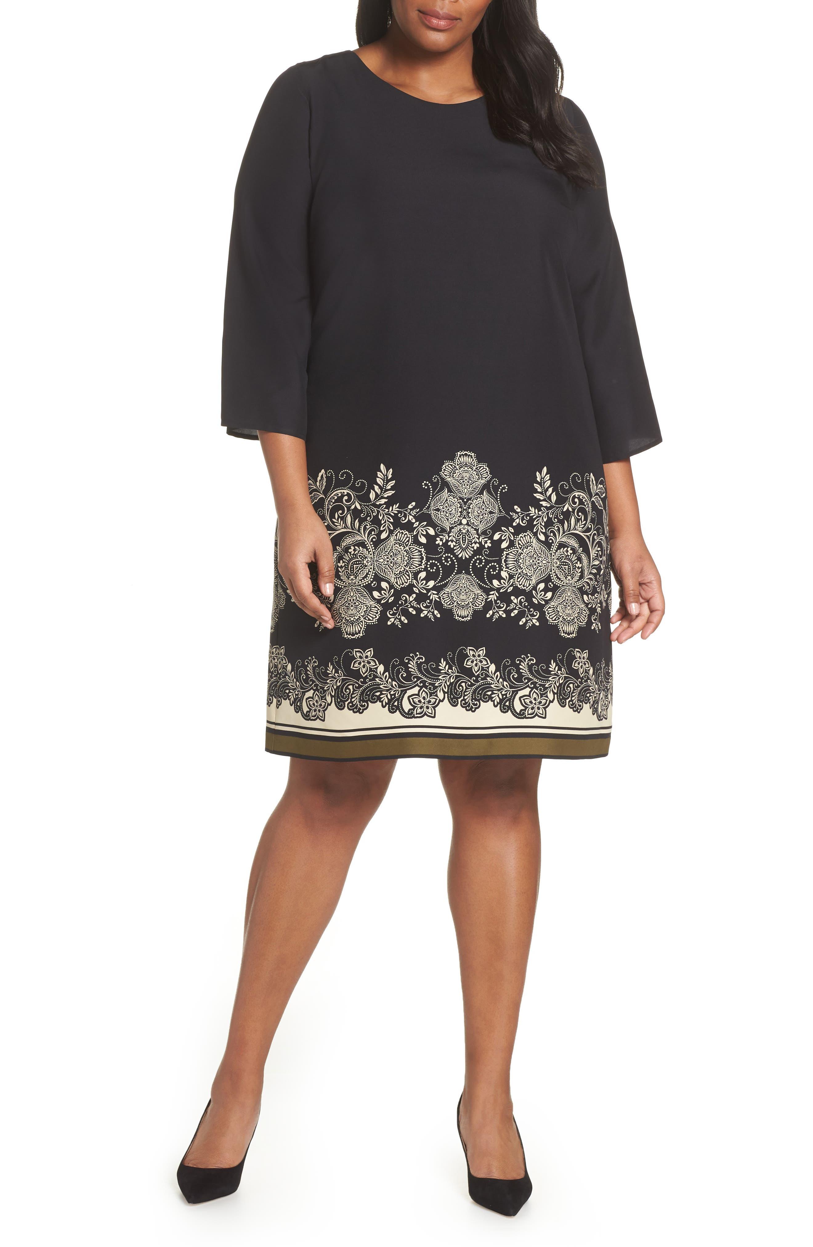 Plus Size Vince Camuto Ornate Paisley Shift Dress, Black