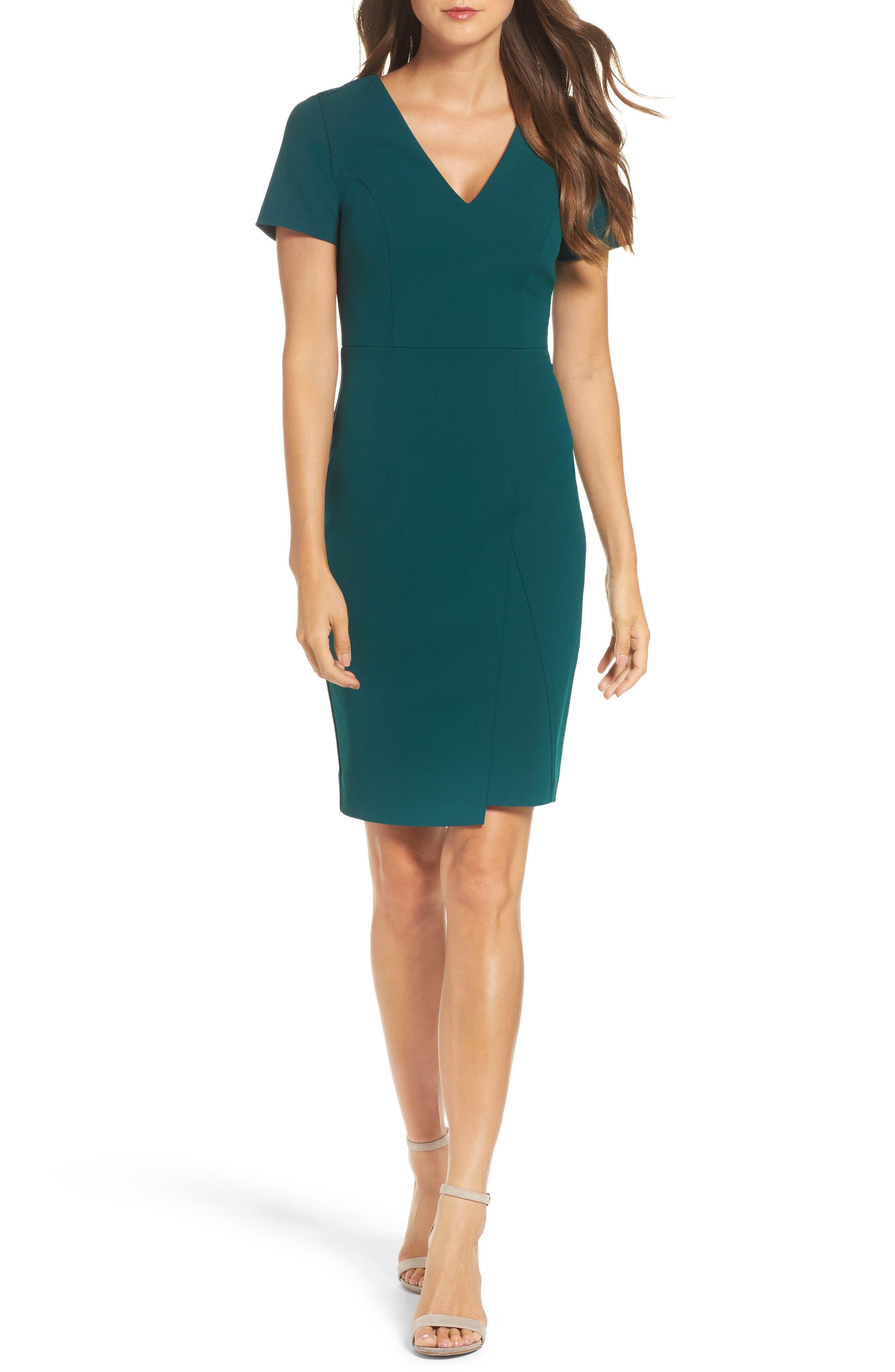 Scuba Crepe Sheath Dress,                             Main thumbnail 1, color,
