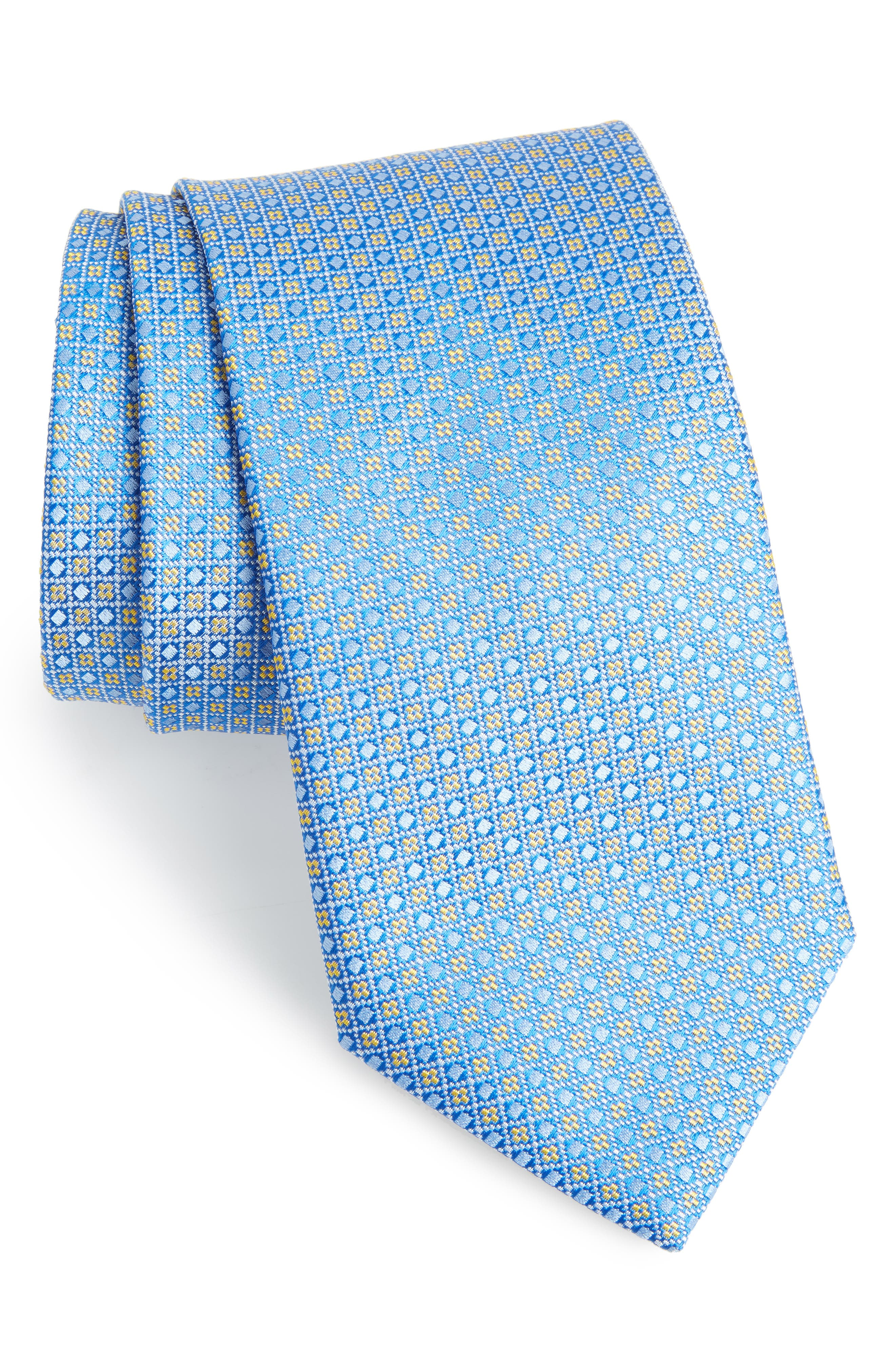 Geometric Silk Tie,                             Main thumbnail 1, color,                             450