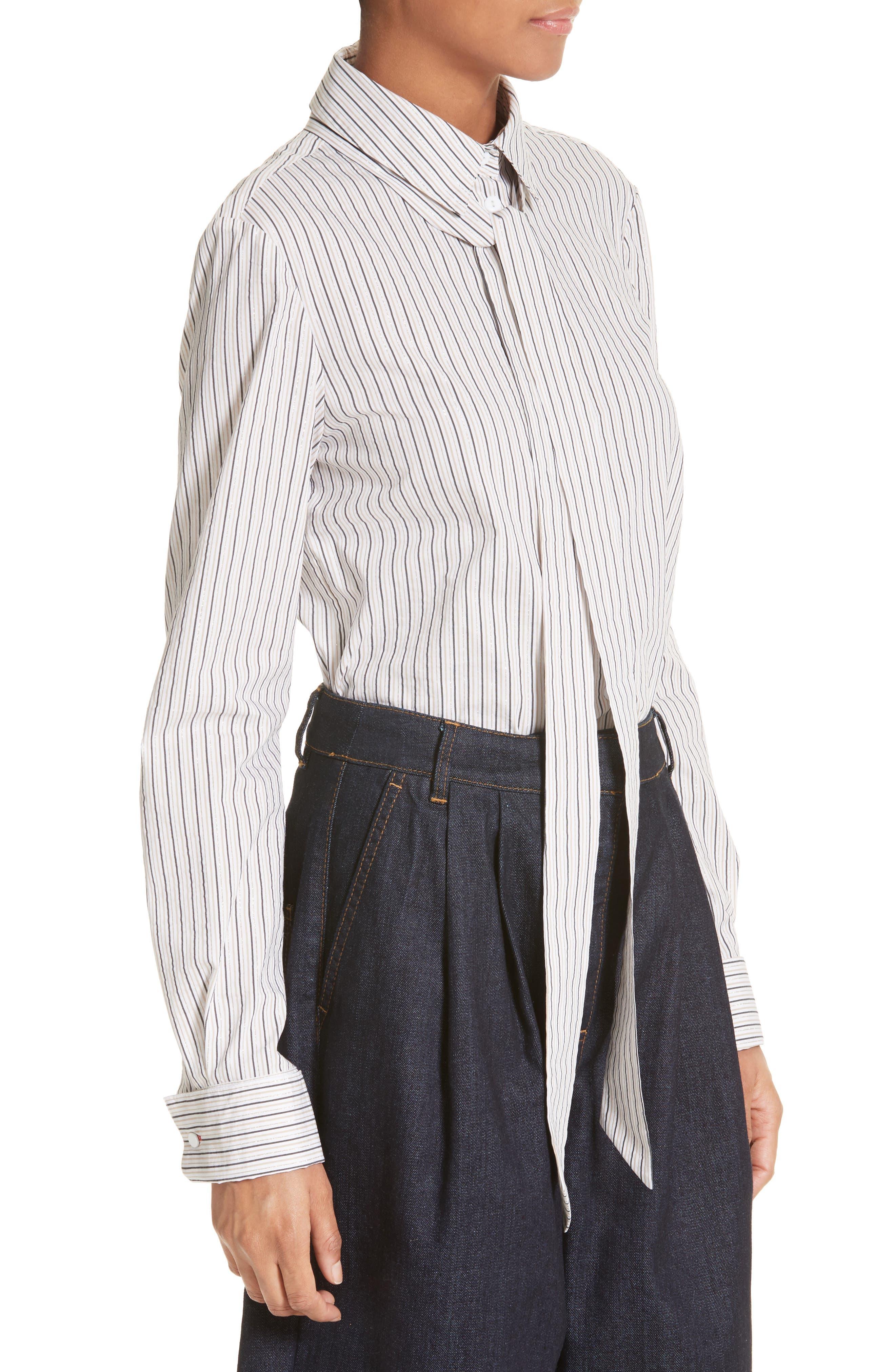 Stripe Slim Tie Neck Shirt,                             Alternate thumbnail 3, color,                             200