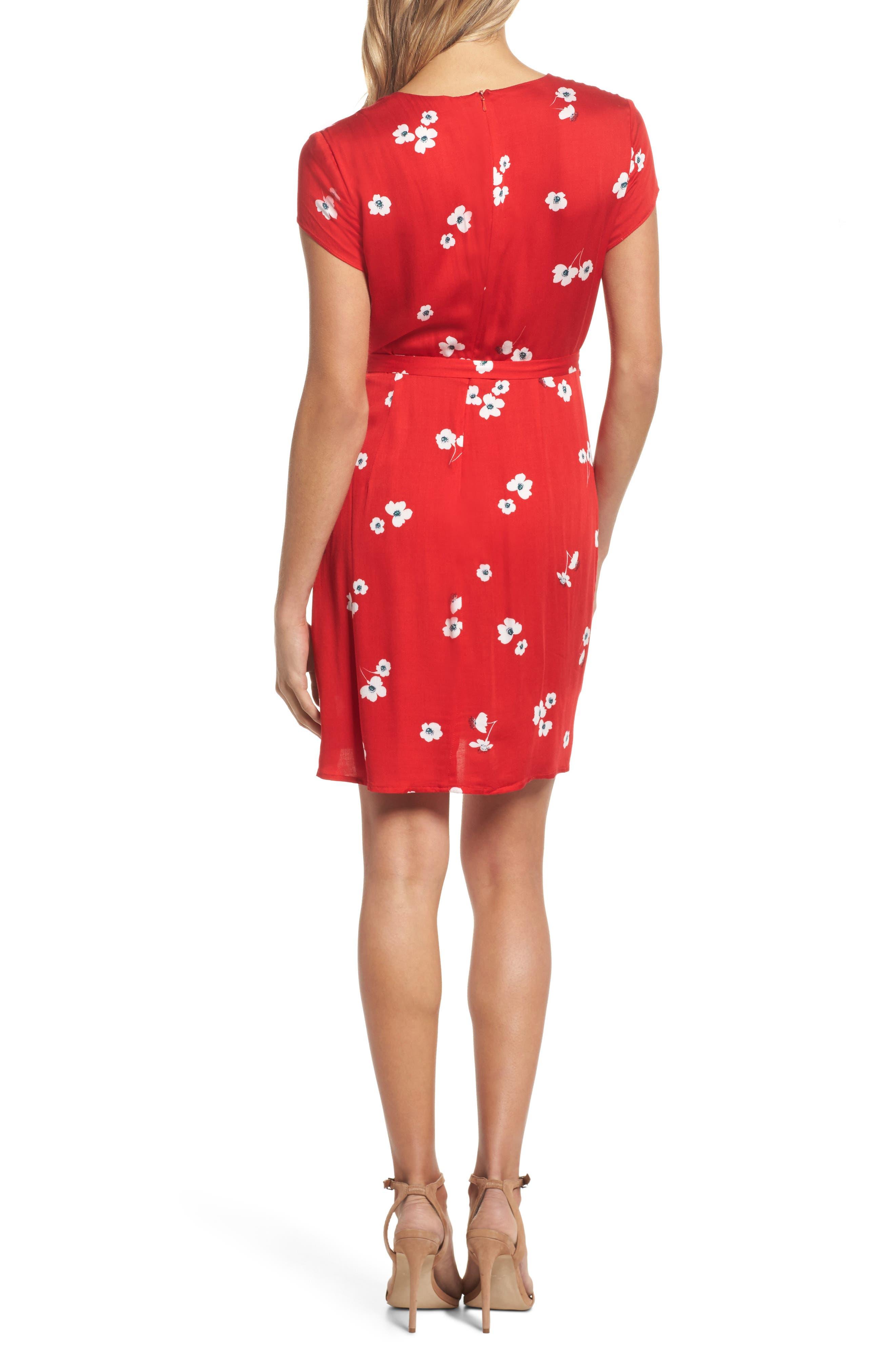 Edie Floral Faux Wrap Dress,                             Alternate thumbnail 2, color,                             645