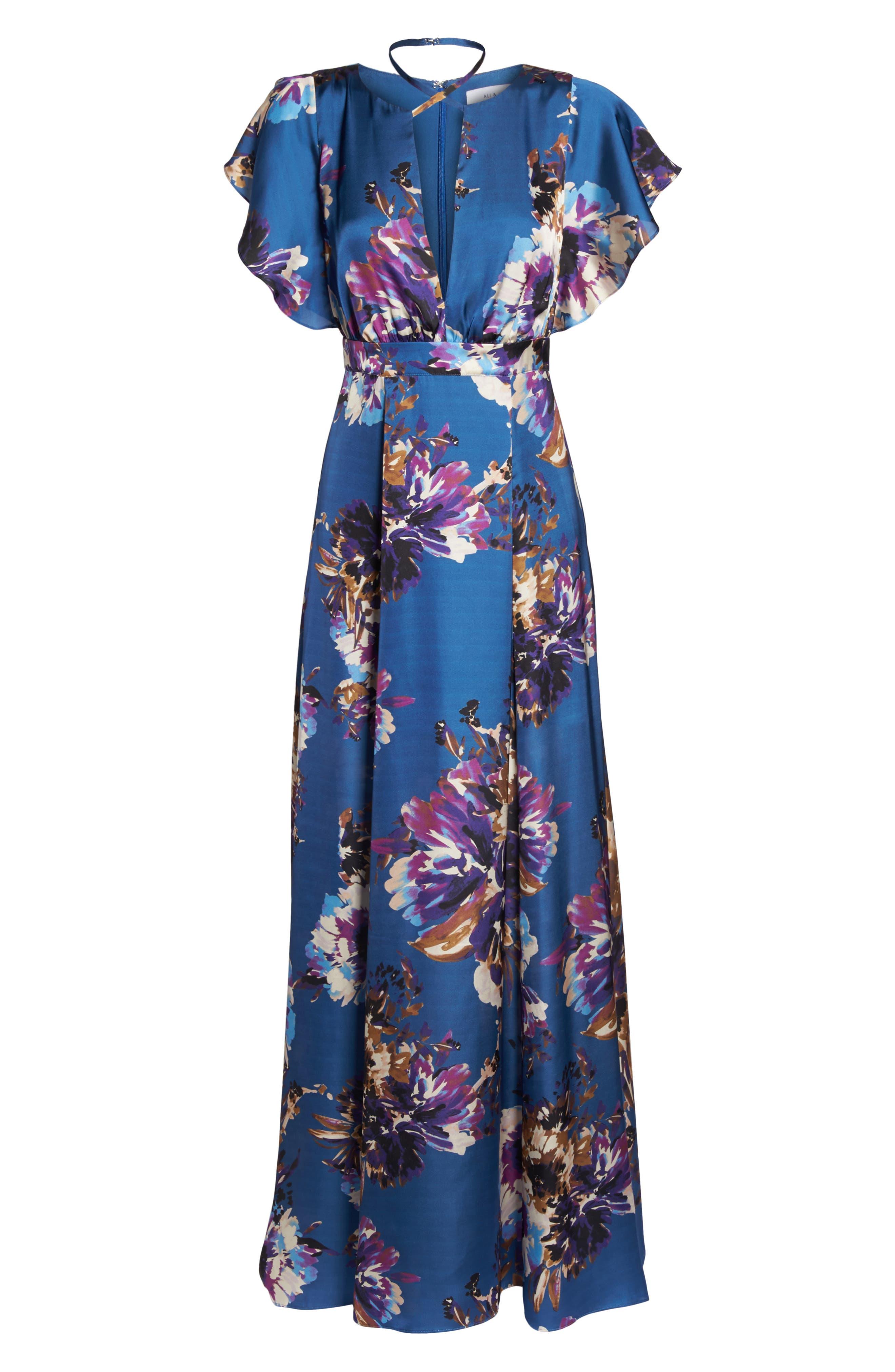 Floral Maxi Dress,                             Alternate thumbnail 7, color,                             425