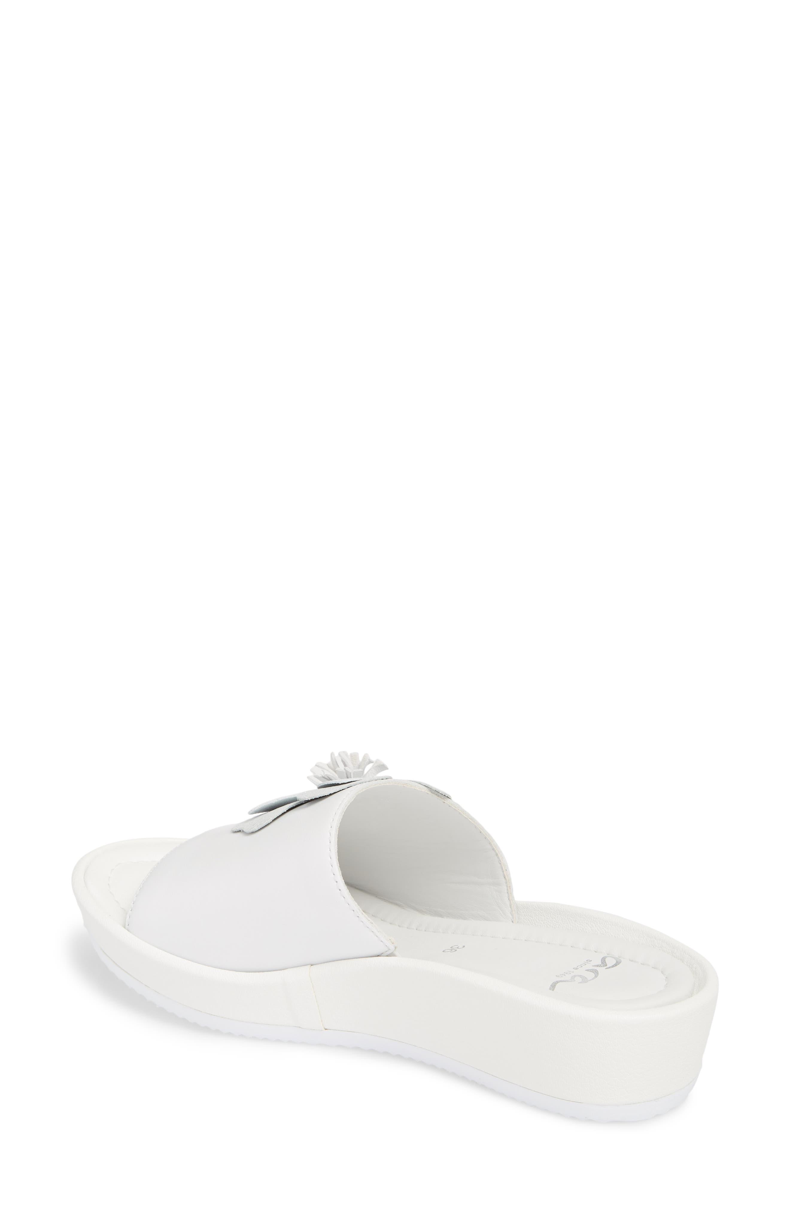 Thea Wedge Slide Sandal,                             Alternate thumbnail 2, color,                             WHITE LEATHER