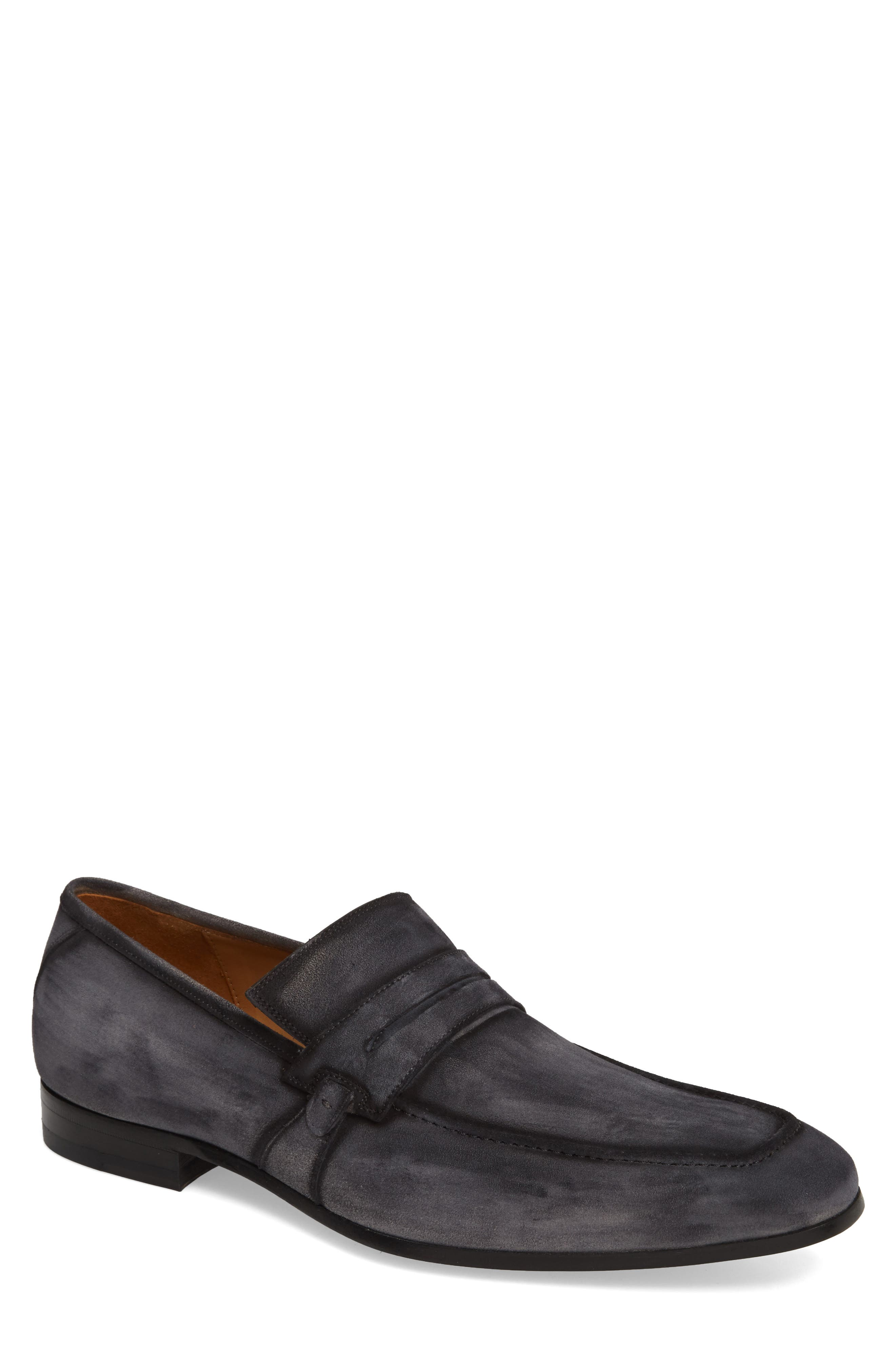 Ulpio Apron Toe Penny Loafer,                             Main thumbnail 1, color,                             LIGHT GREY SUEDE