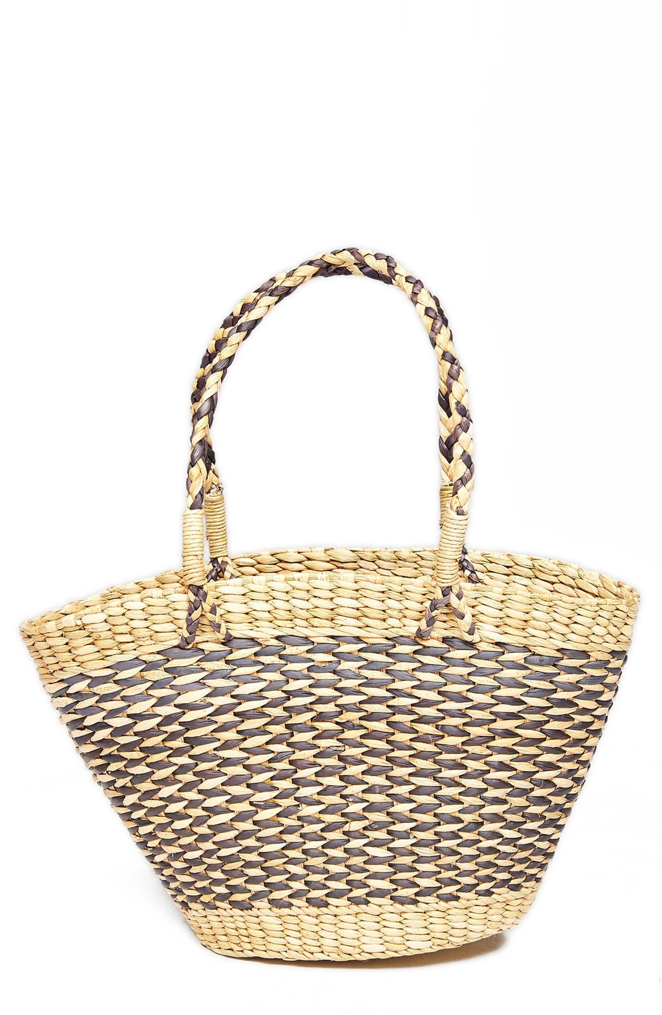 Goodie Basket Straw Tote,                             Main thumbnail 1, color,                             001