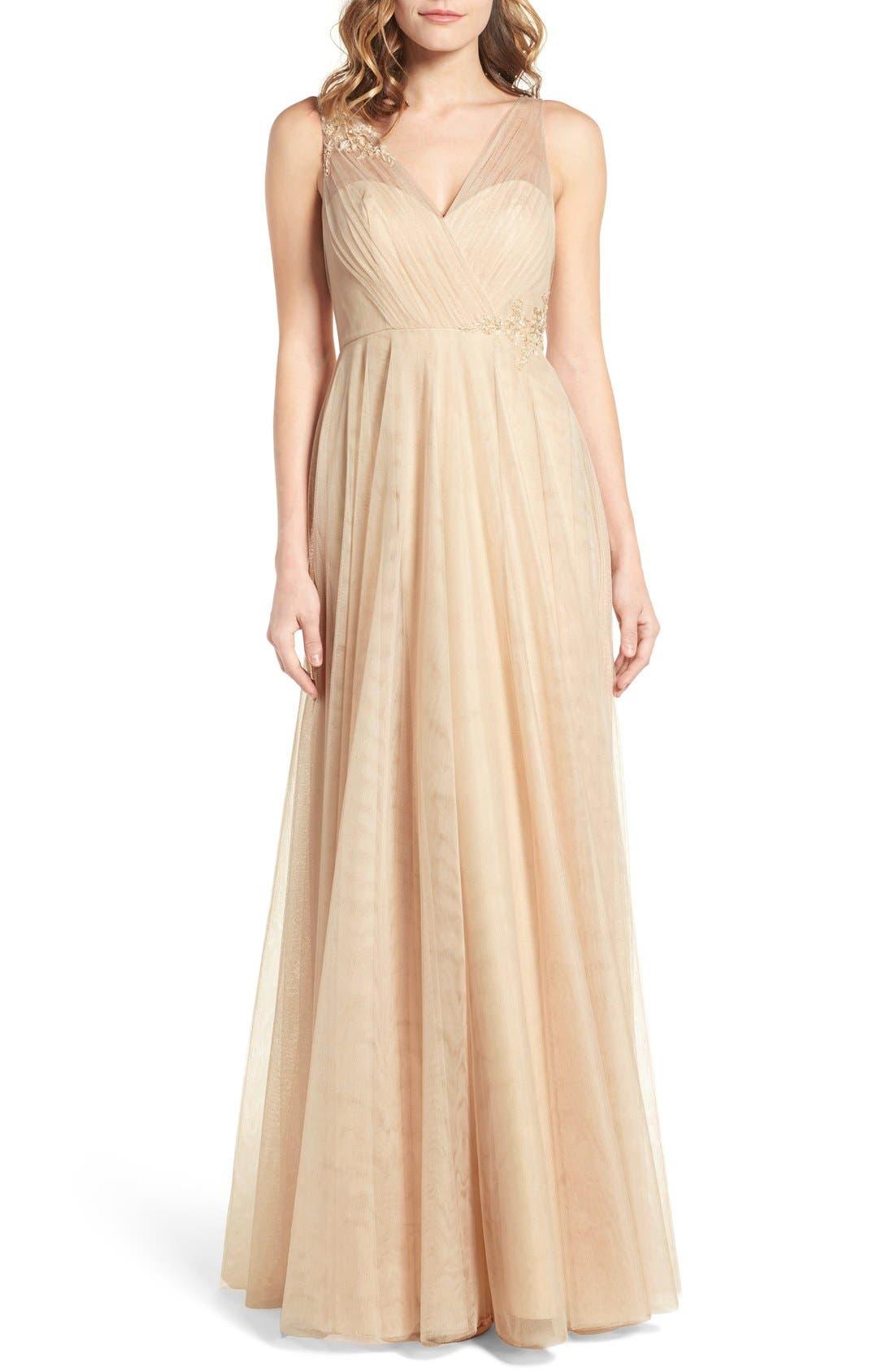 Emelie Illusion Gown,                         Main,                         color, CASHMERE