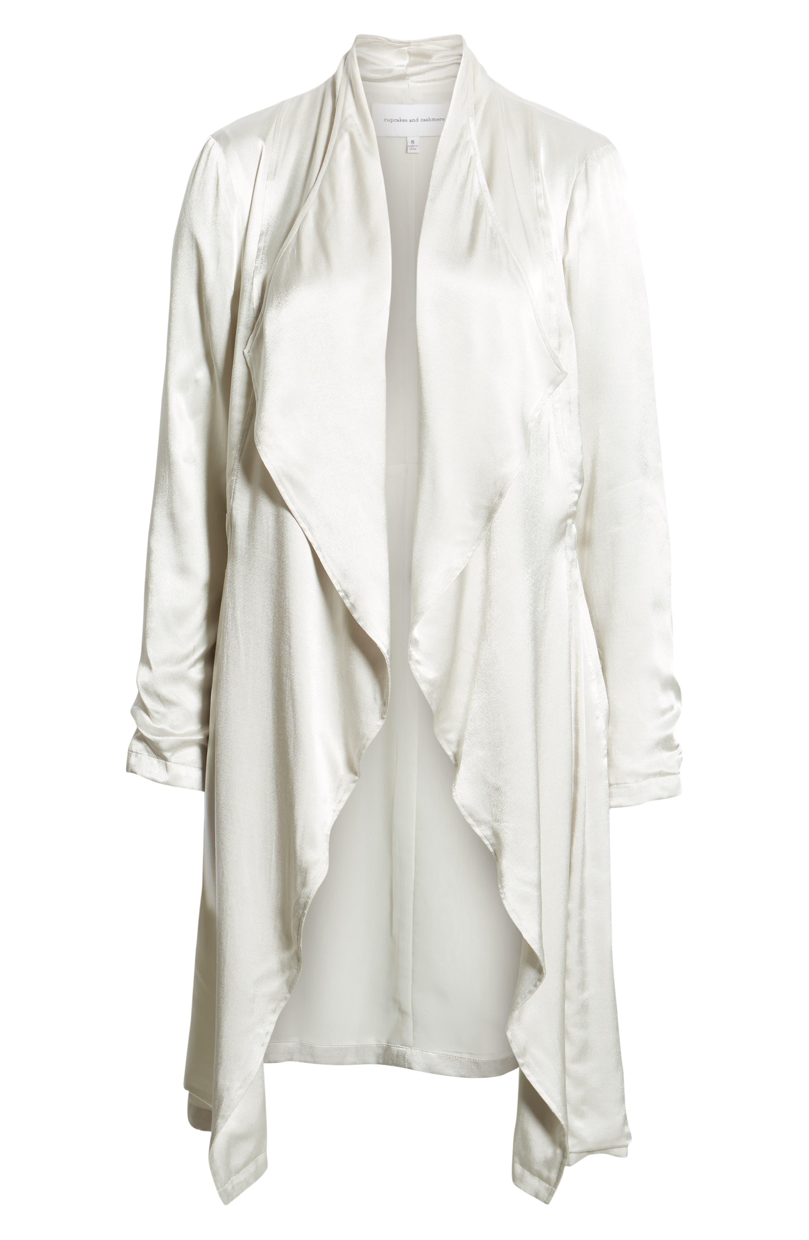 Drape Front Satin Trench Coat,                             Alternate thumbnail 6, color,                             FOG