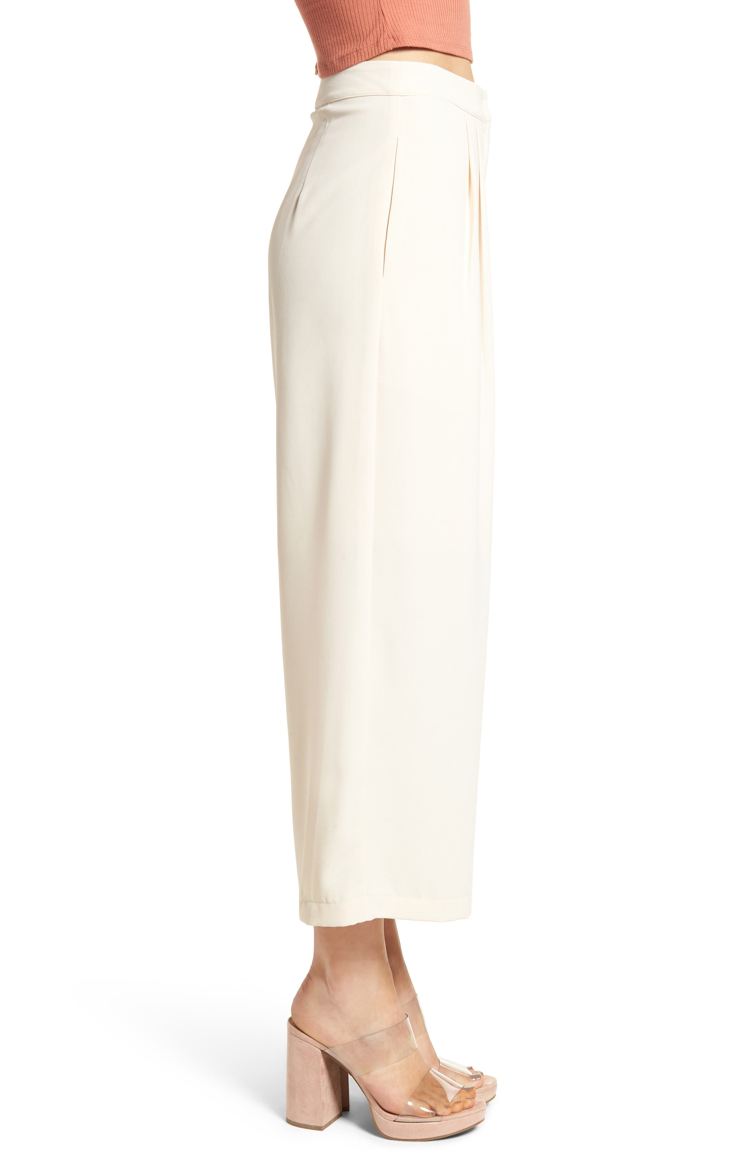 Chriselle x J.O.A. Pleat High Waist Crop Wide Leg Pants,                             Alternate thumbnail 3, color,                             650