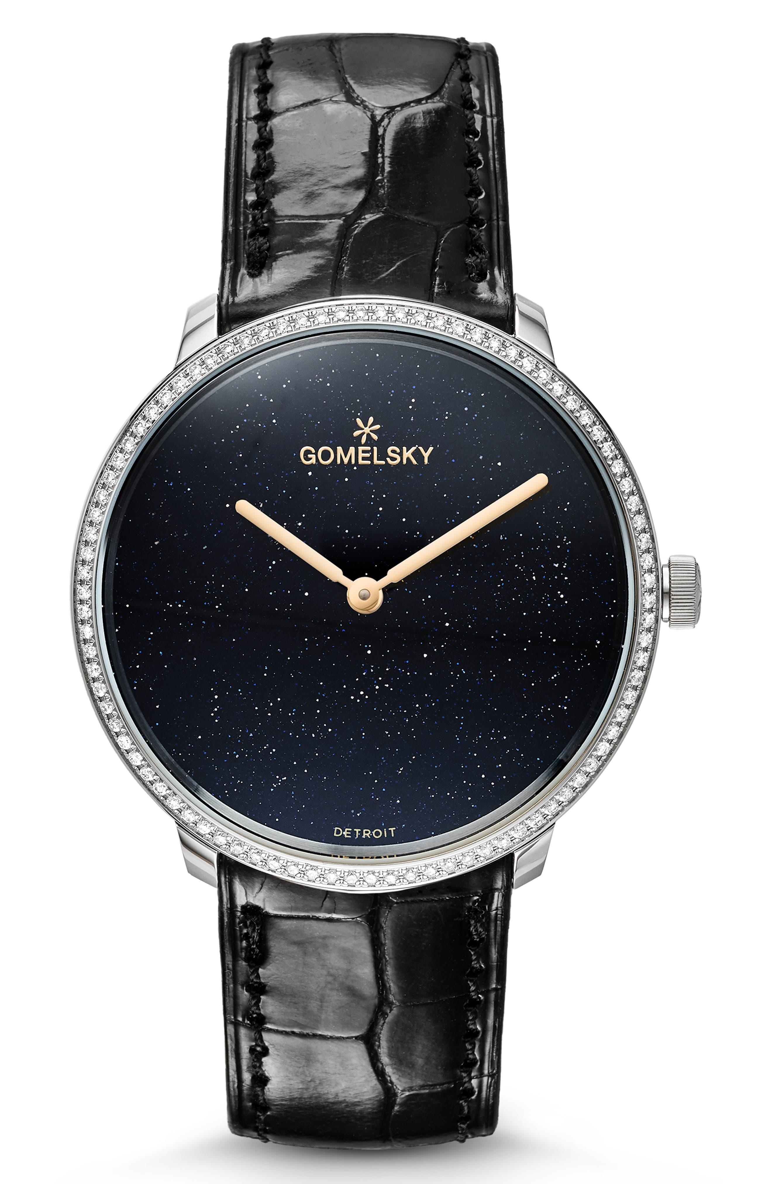 GOMELSKY The Lois Diamond Alligator Strap Watch, 36Mm in Black/ Sandstone/ Silver