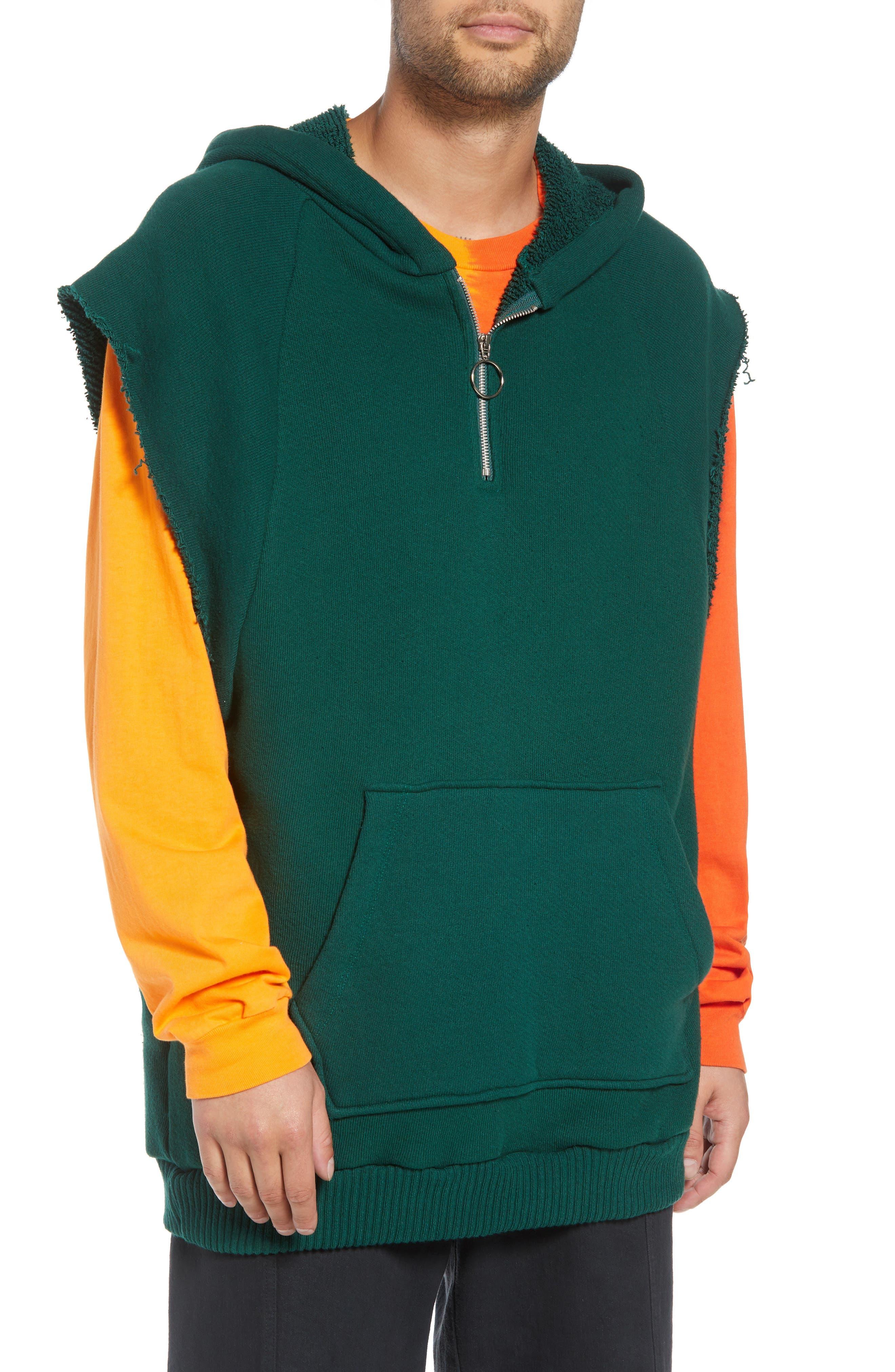 DRIFTER Warwick Quarter-Zip Hoodie Sweatshirt in Hunter Green
