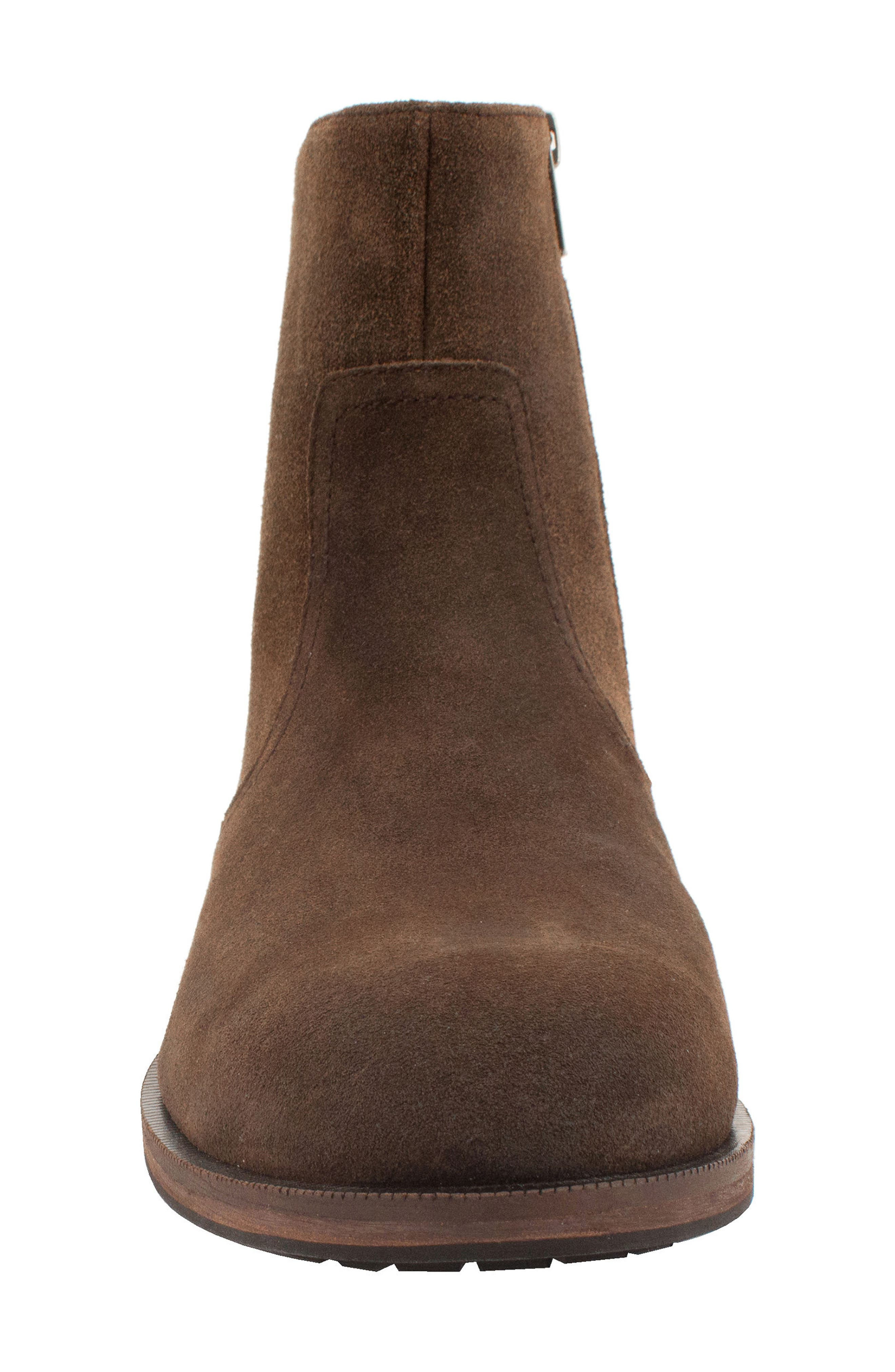 Fayette Plain Toe Zip Boot,                             Alternate thumbnail 4, color,                             CHOCOLATE SUEDE
