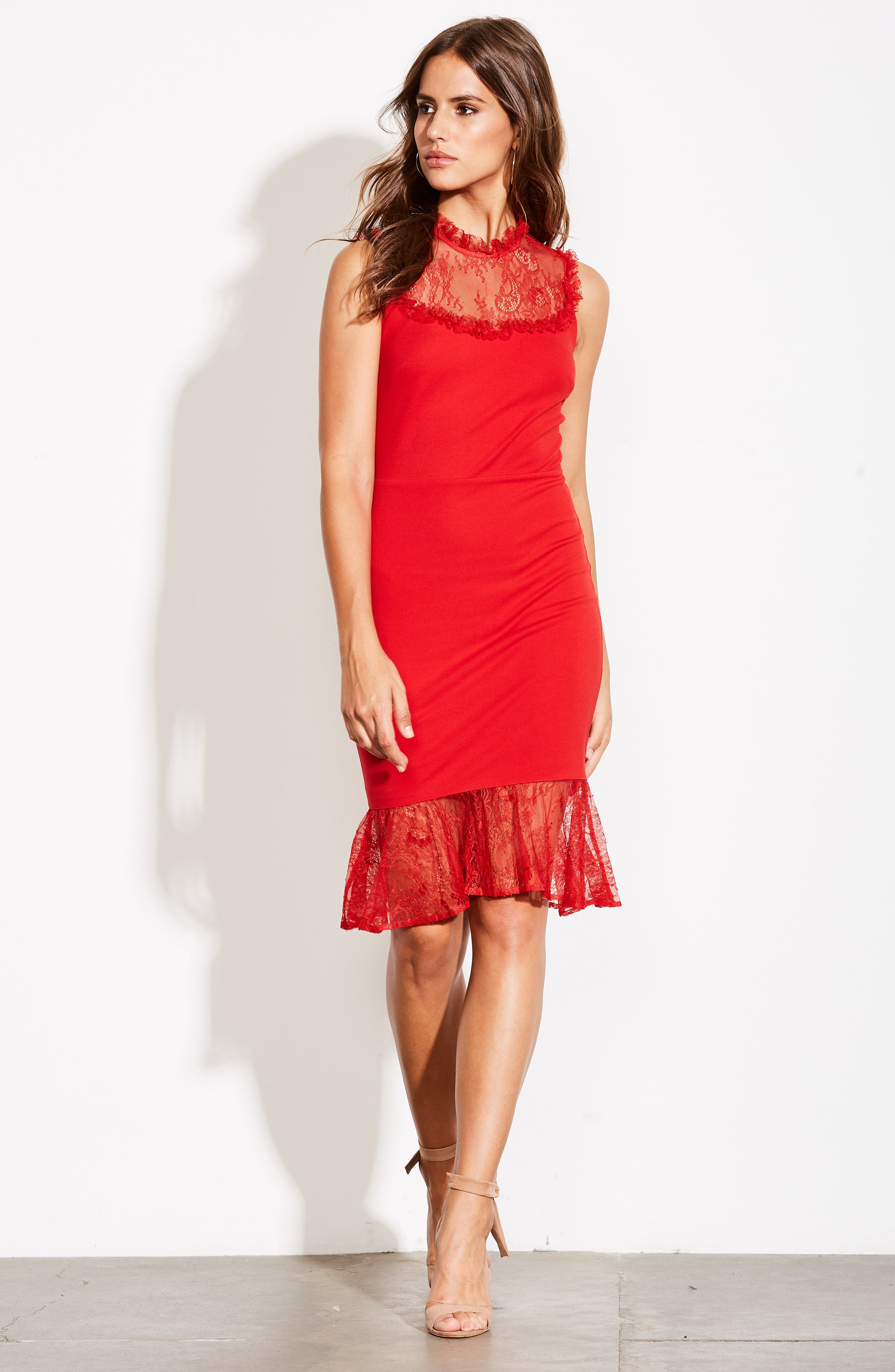 ALI & JAY,                             Two to Tango Lace Detail Dress,                             Alternate thumbnail 8, color,                             SCARLET