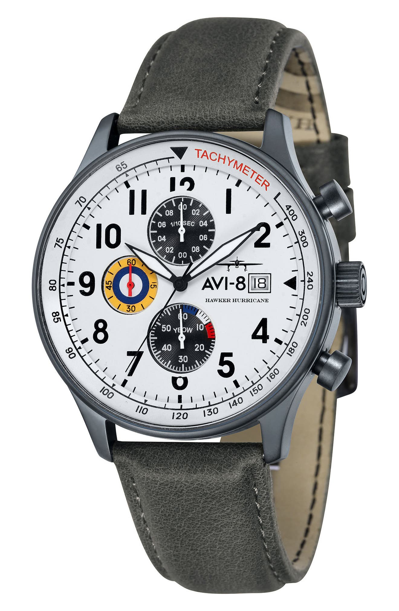 Hawker Hurricane Chronograph Leather Strap Watch, 42mm,                             Main thumbnail 1, color,                             020
