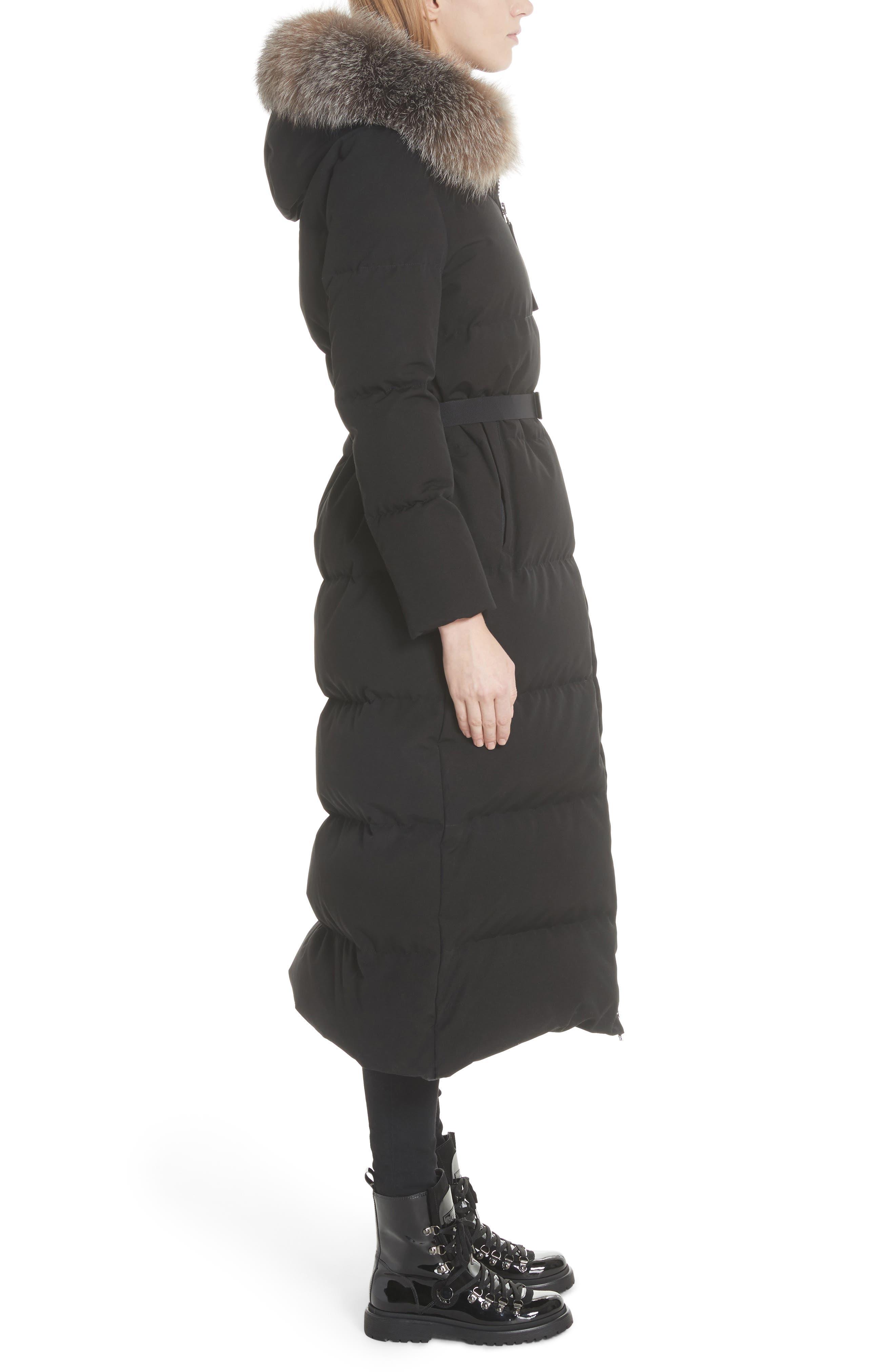 Bernache Hooded Down Coat with Removable Genuine Fox Fur Trim,                             Alternate thumbnail 3, color,                             BLACK