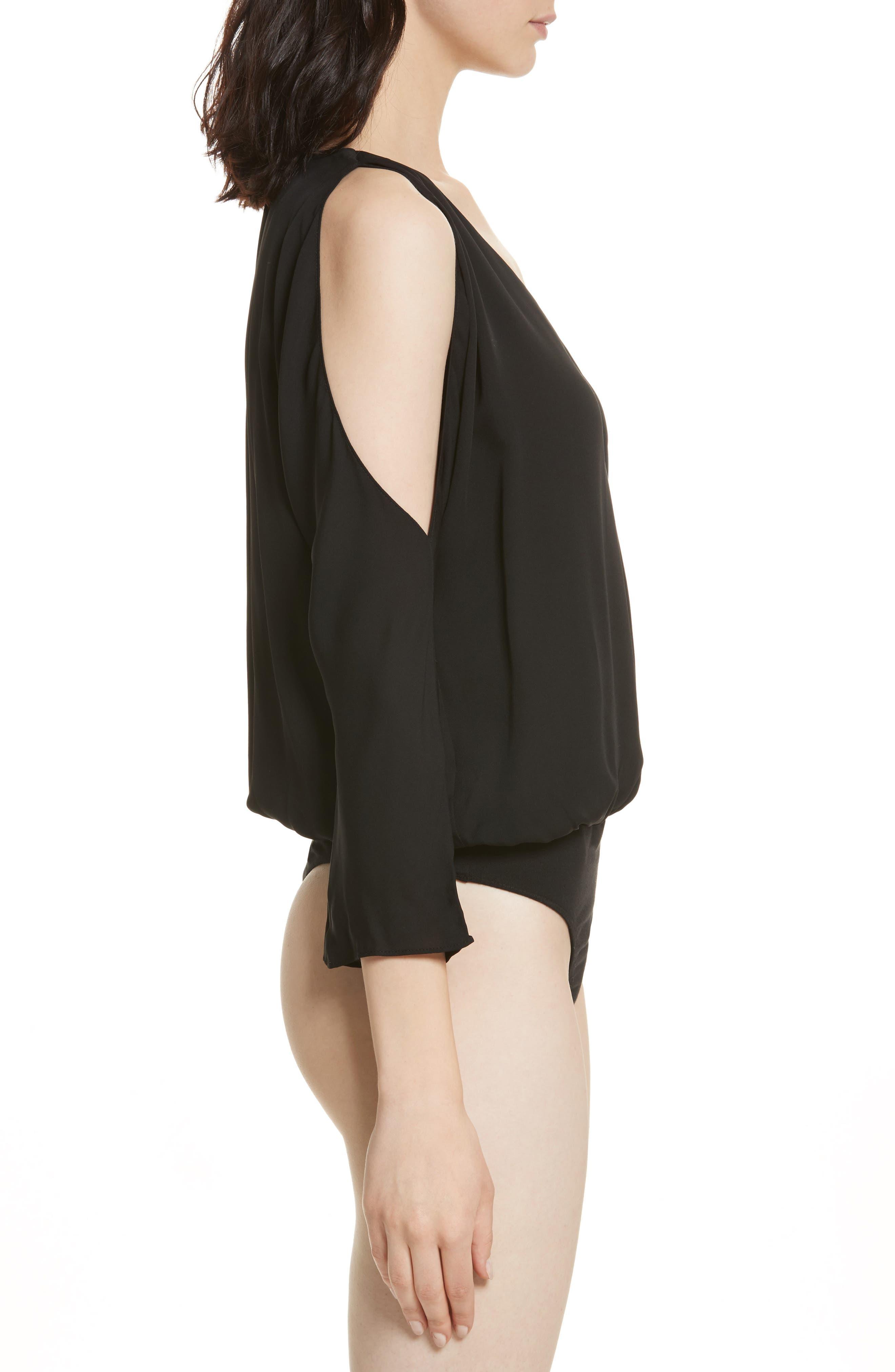 Ahsaki Cold Shoulder Silk Bodysuit,                             Alternate thumbnail 4, color,                             002