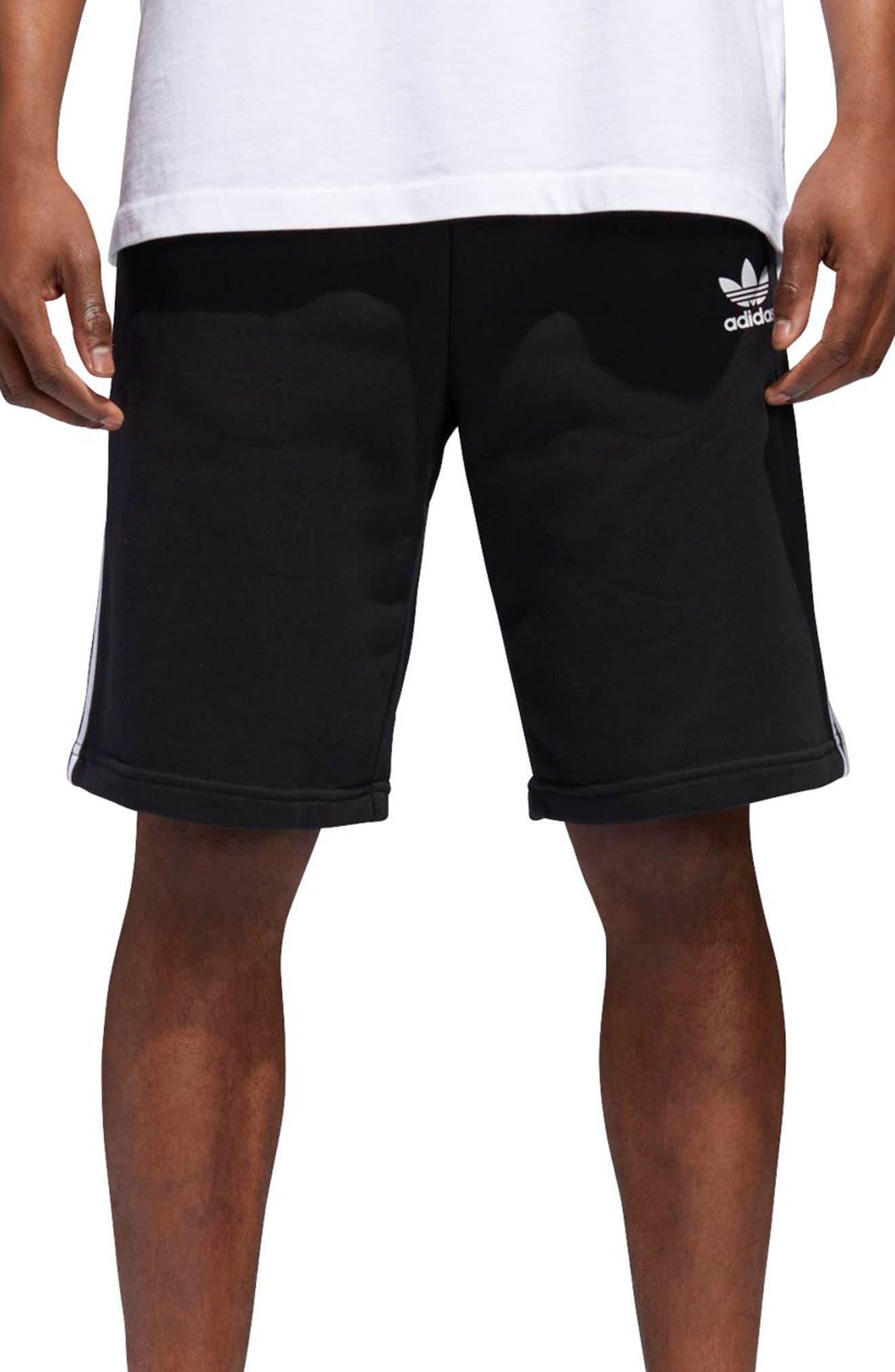 3-Stripes Shorts,                             Main thumbnail 1, color,                             BLACK/ WHITE