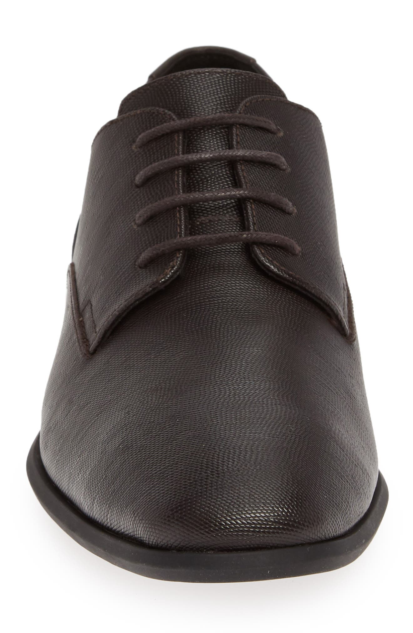 Lucca Plain Toe Derby,                             Alternate thumbnail 4, color,                             DARK BROWN