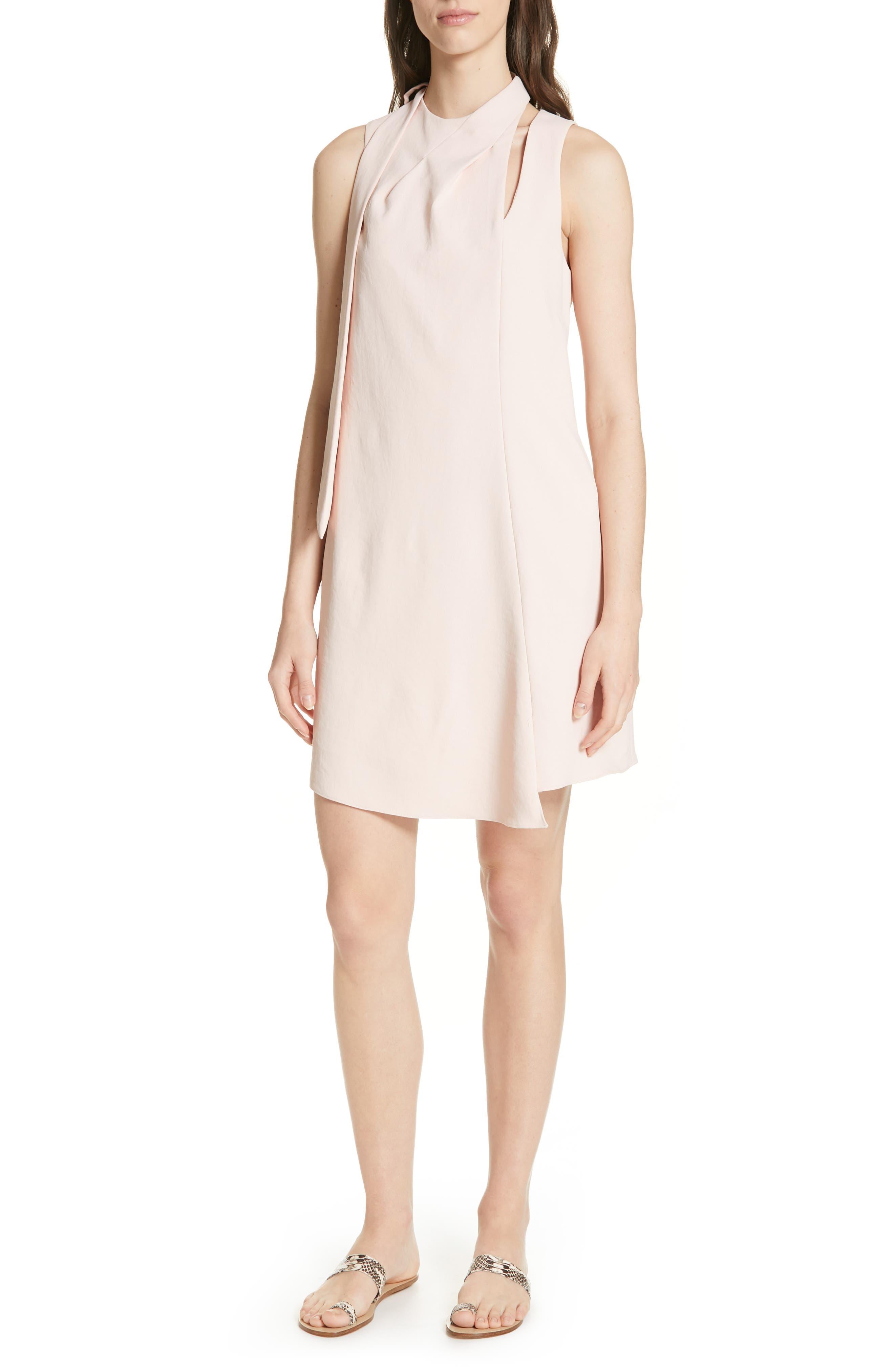 Tibi Chalky Drape Pleated Neck Shift Dress, Pink
