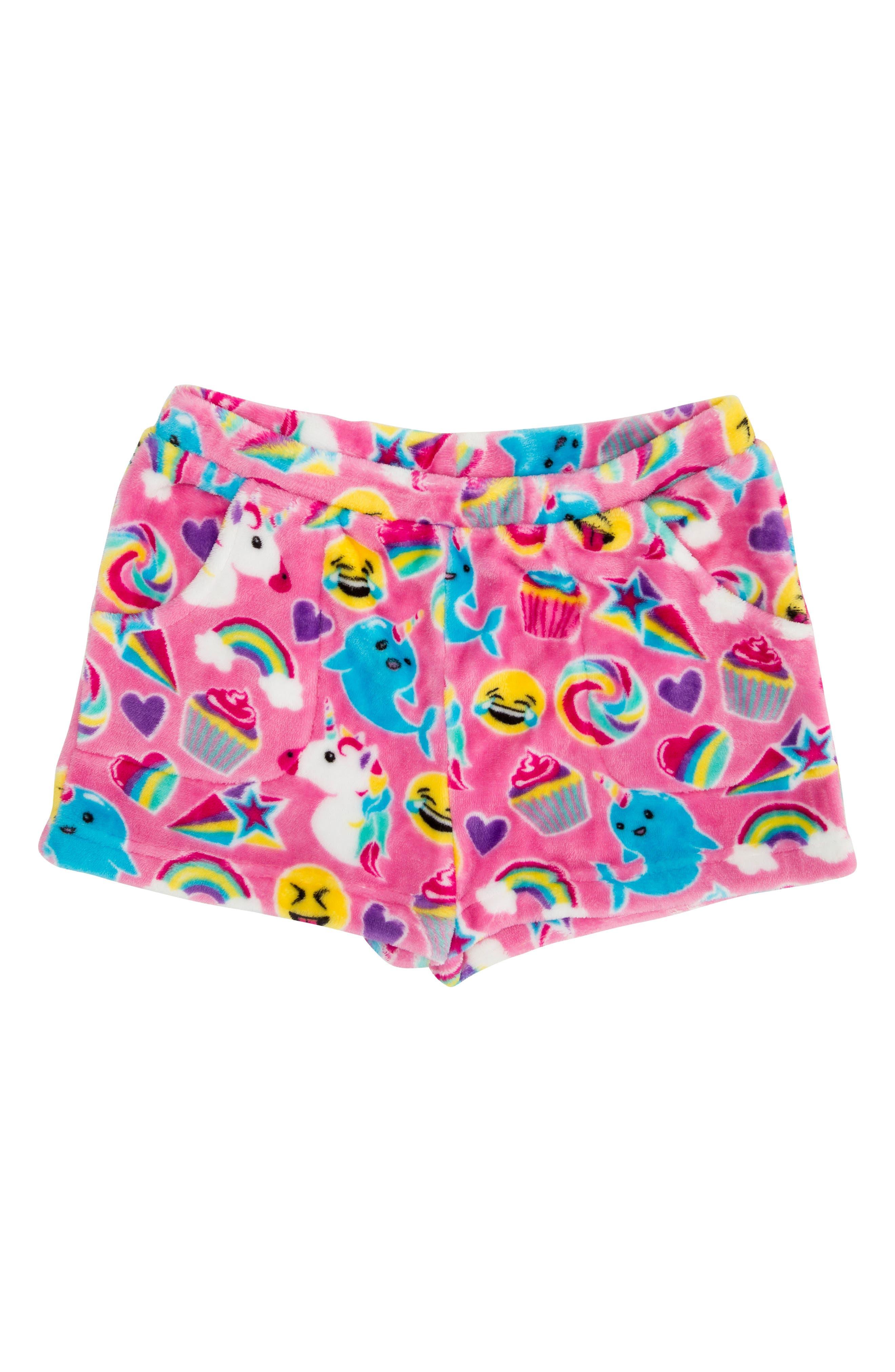 Emoji Fleece Pajama Shorts,                             Main thumbnail 1, color,                             650