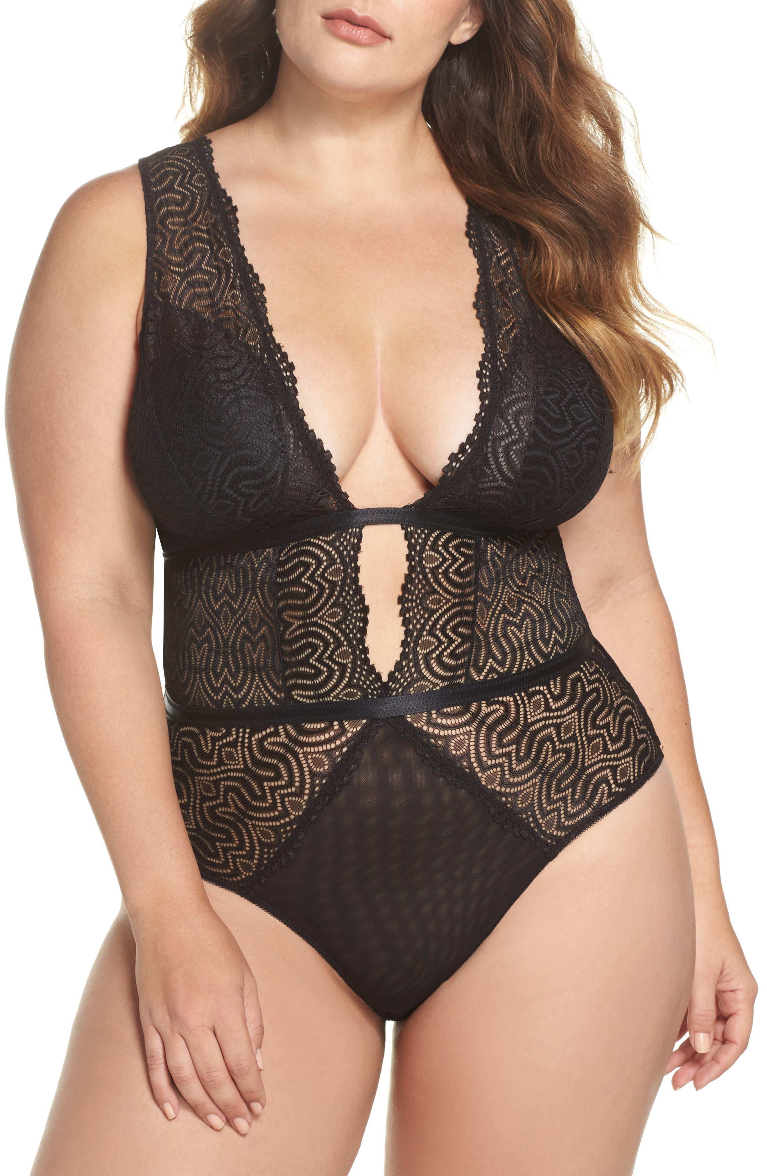 Lucette Edgy Lace Plunge Bodysuit,                             Main thumbnail 1, color,                             BLACK